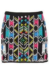 Topshop Aztec Embellished Mini Skirt - Lyst