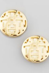 Tory Burch Frete Tiled T Button Earrings - Lyst