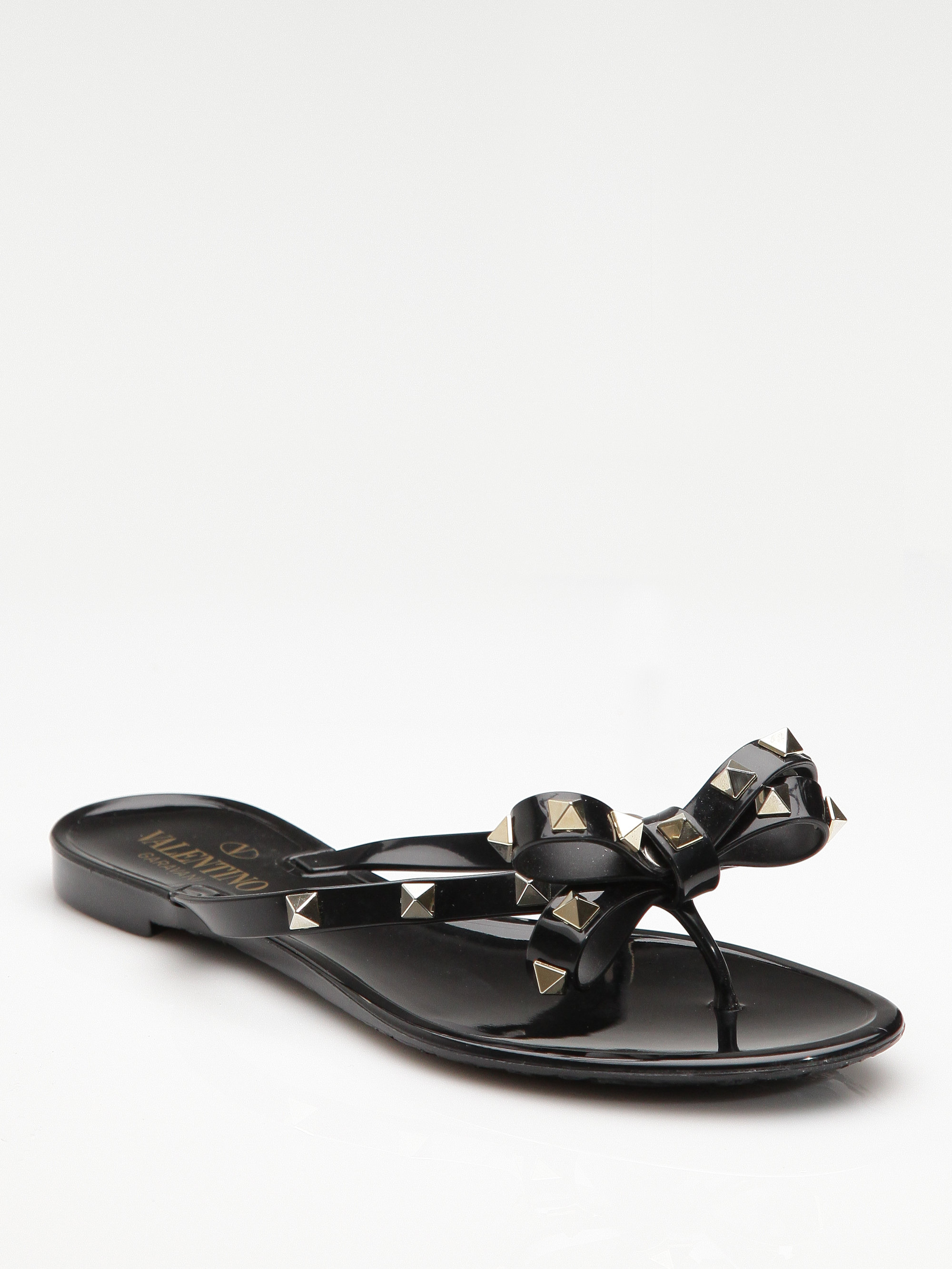 Valentino Rockstud Jelly Sandals In Black Lyst