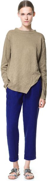Zara Linen Trousers with Elasticated Waistband - Lyst