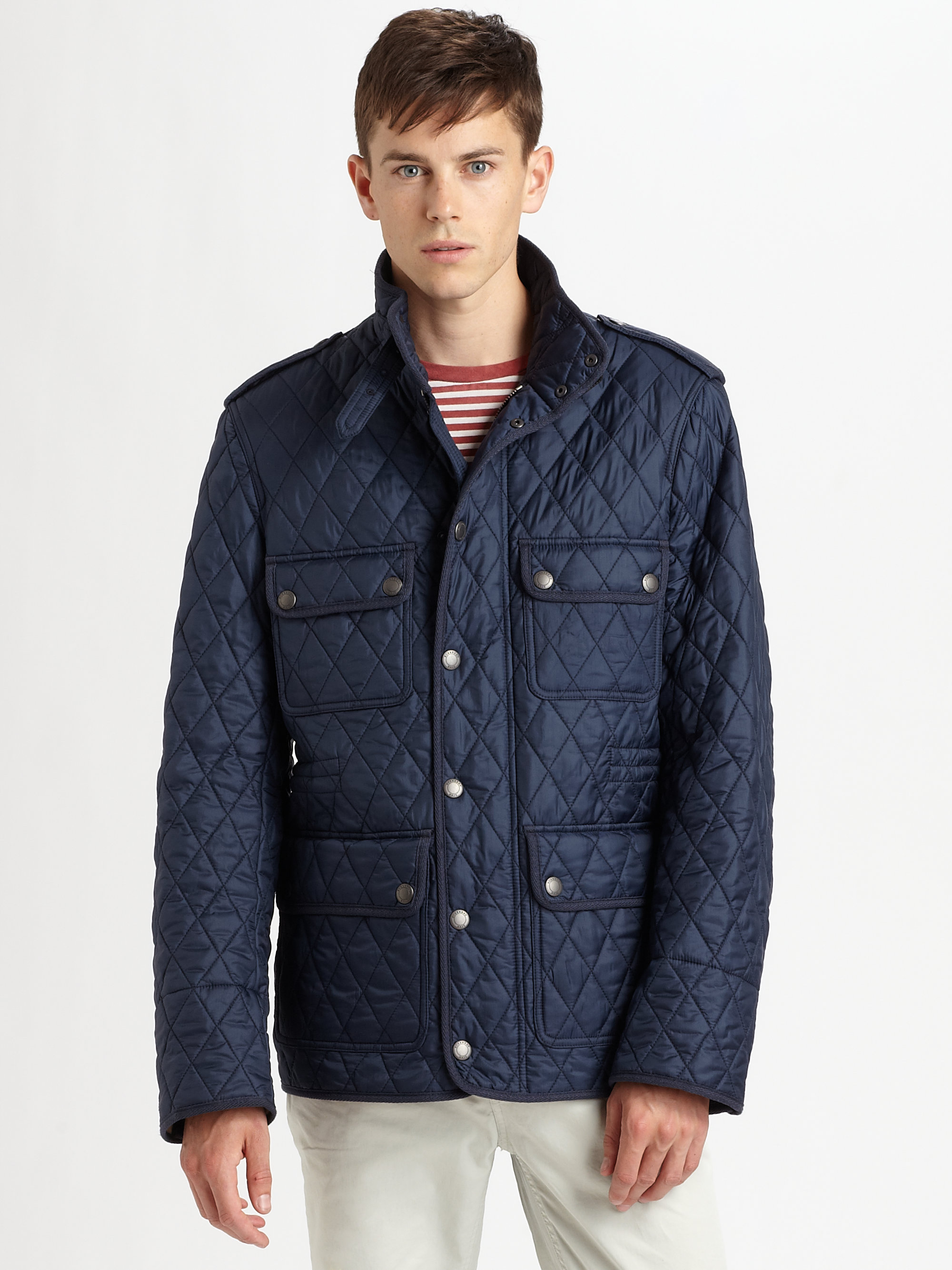 Lyst Burberry Brit Quilted Field Jacket In Blue For Men