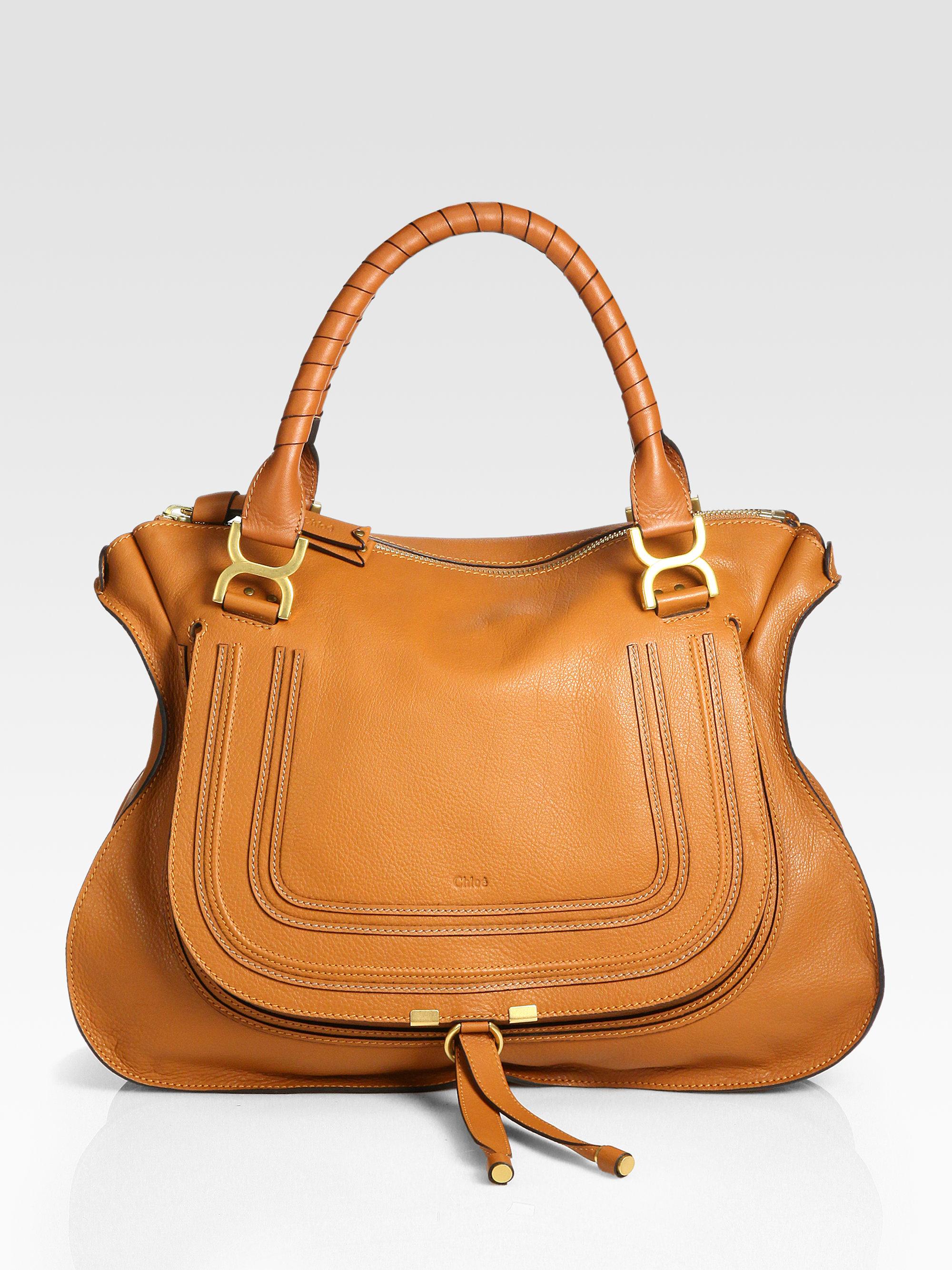 chlo marcie large shoulder bag in brown tan lyst. Black Bedroom Furniture Sets. Home Design Ideas