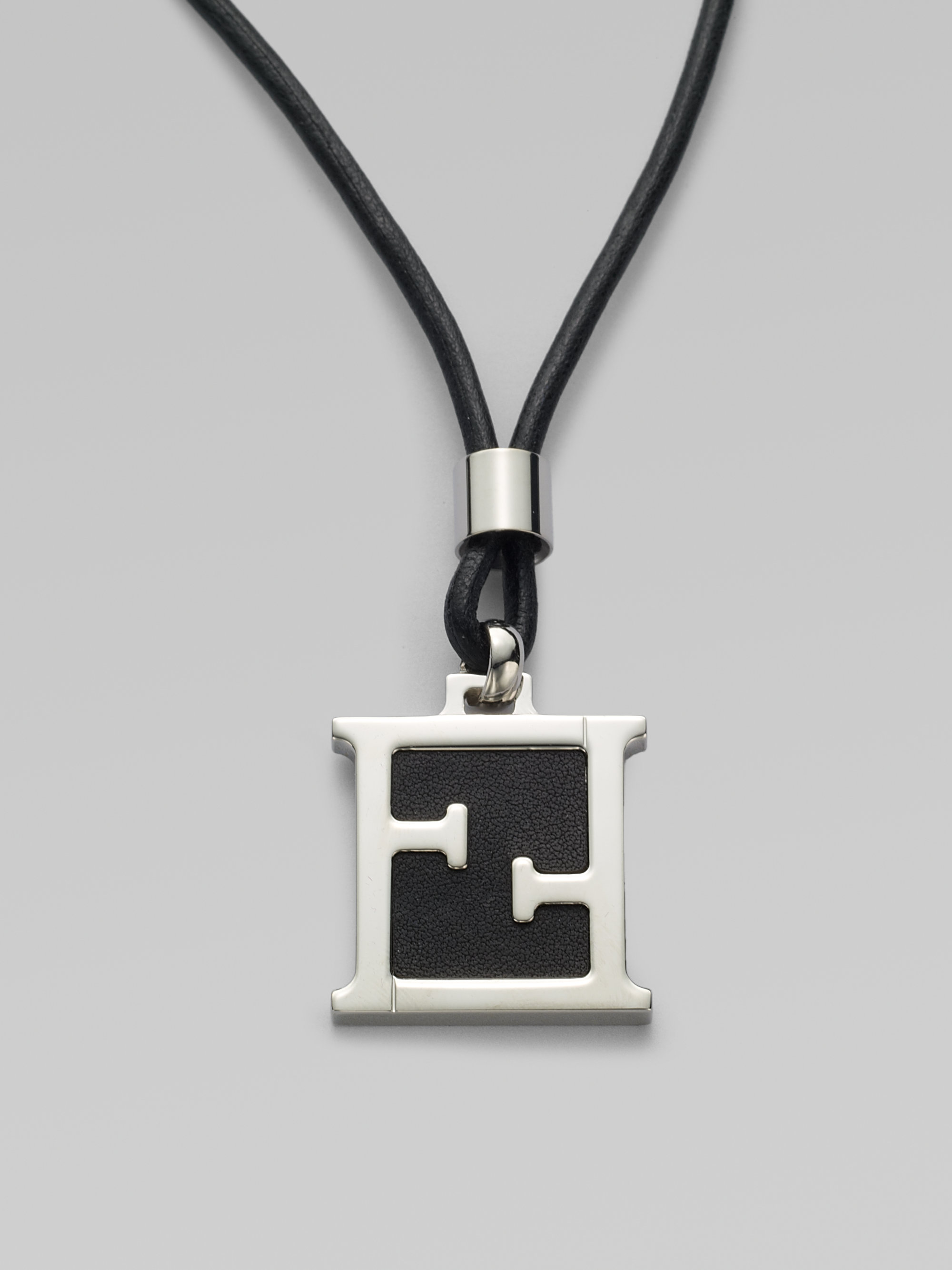 3e08975fe481 Lyst - Fendi Leather Cord Necklace in Metallic