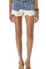 Free People Floral Embroidered Cutoff Shorts - Lyst