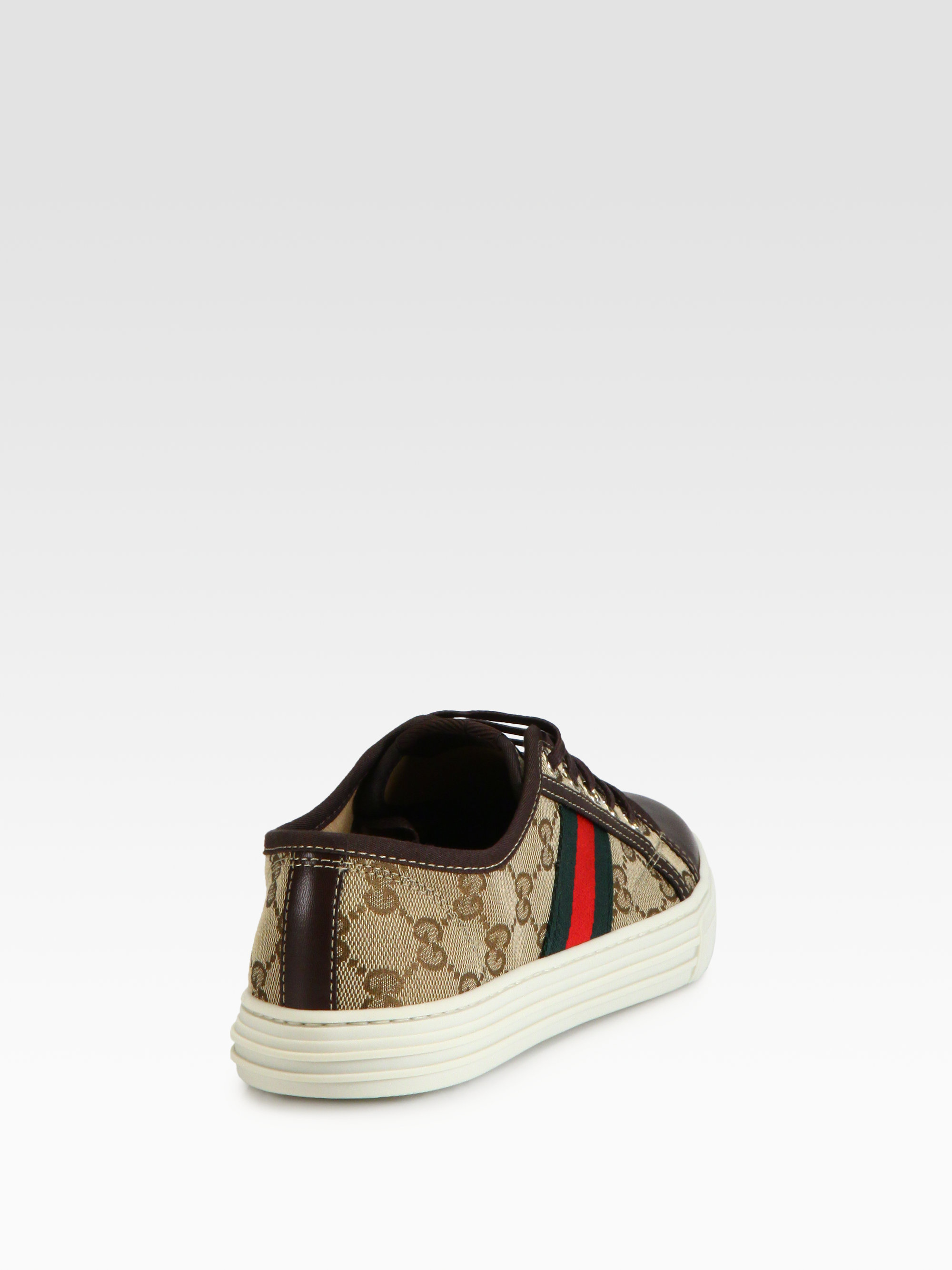 4993a504411 Lyst - Gucci Gg Canvas   Leather Lace-Up Sneakers in Brown