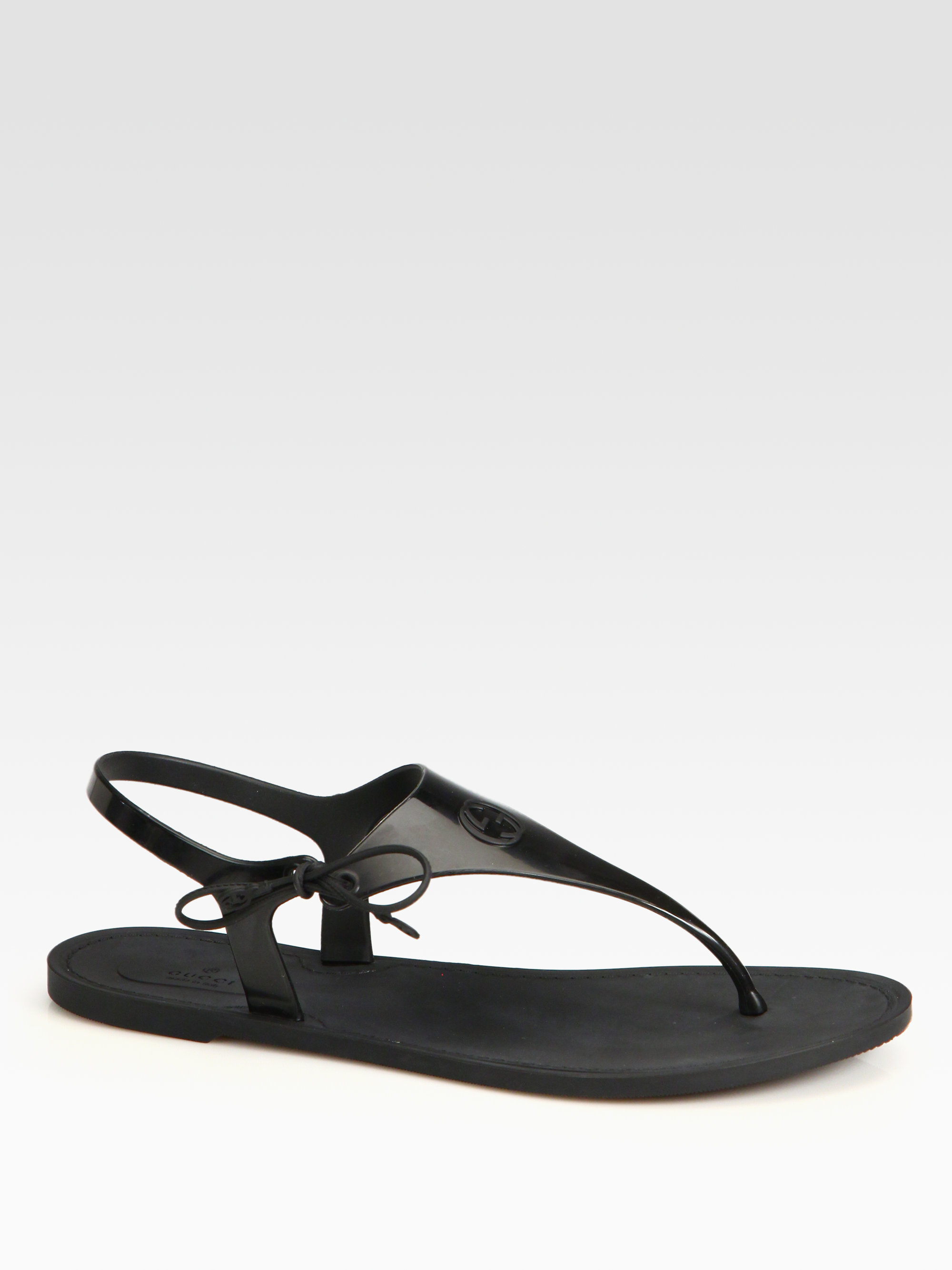 Lyst - Gucci Katina Rubber Thong Sandals in Black a89c5128f270