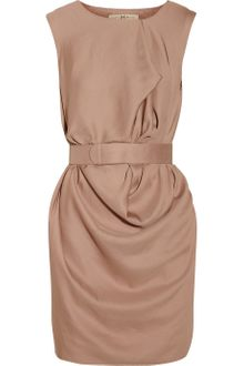 Halston Heritage Belted Draped Crepe Dress - Lyst