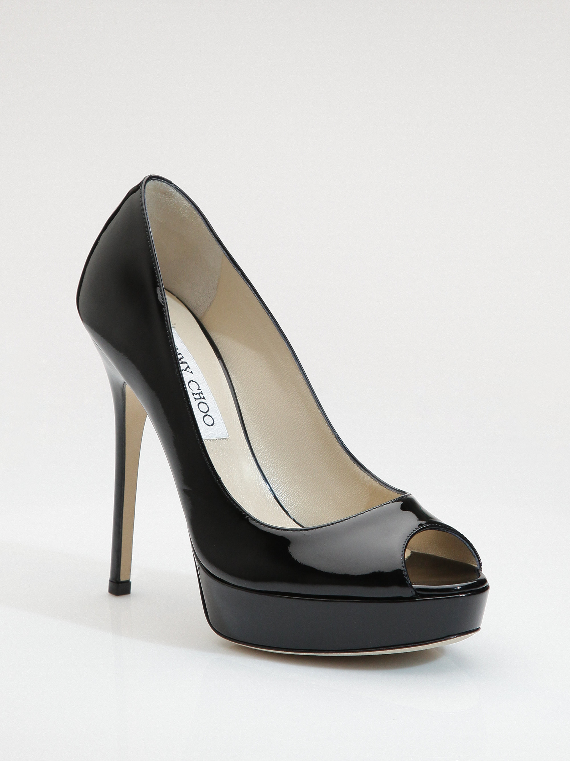8608eb8cf16 Lyst - Jimmy Choo Crown Patent Leather Peep-Toe Pumps in Black