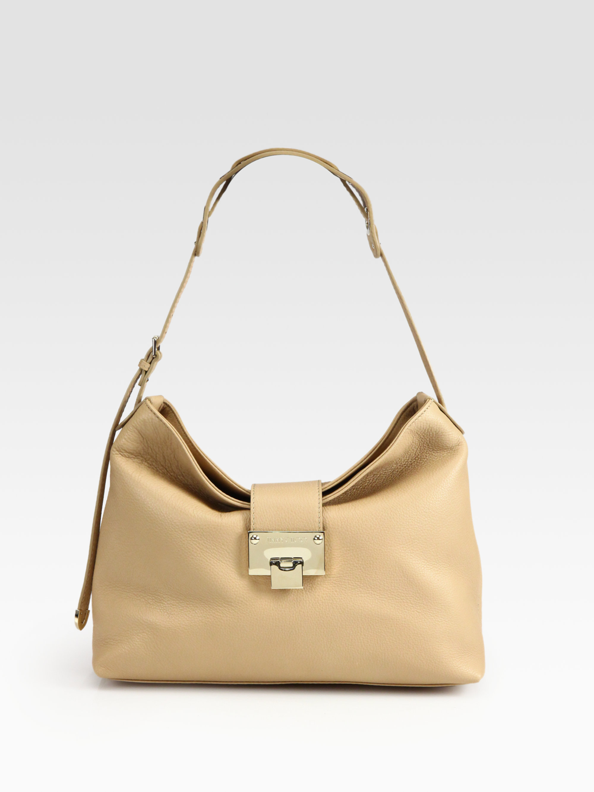 c03997a562e Lyst - Jimmy Choo Rachel Grainy Calf Leather Shoulder Bag in Natural