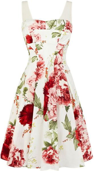Karen Millen Floral Print On Cotton Prom Dress - Lyst