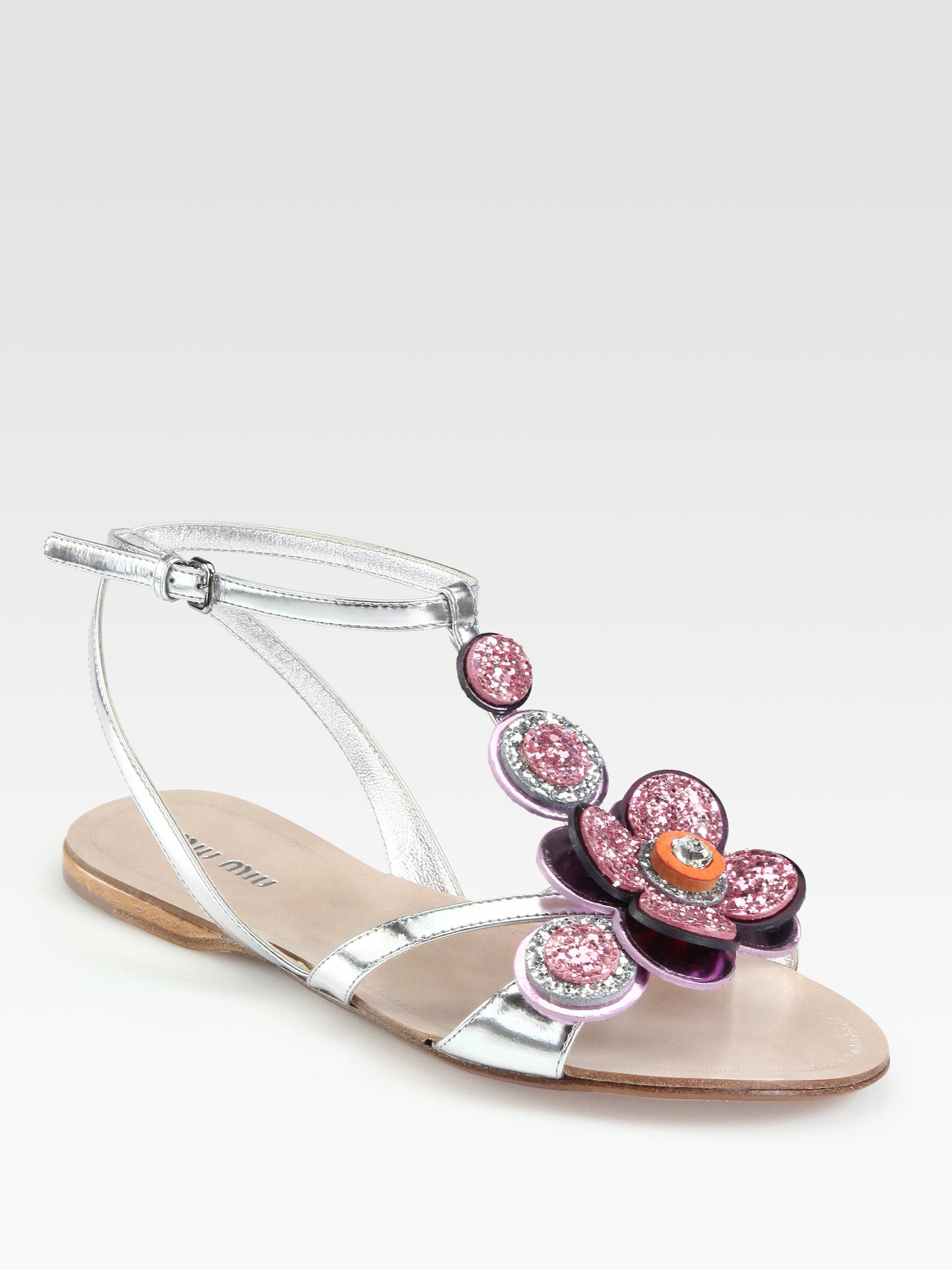 f8c024211d2dcc Lyst - Miu Miu Glitter Jeweled Flower Metallic Leather Sandals in ...