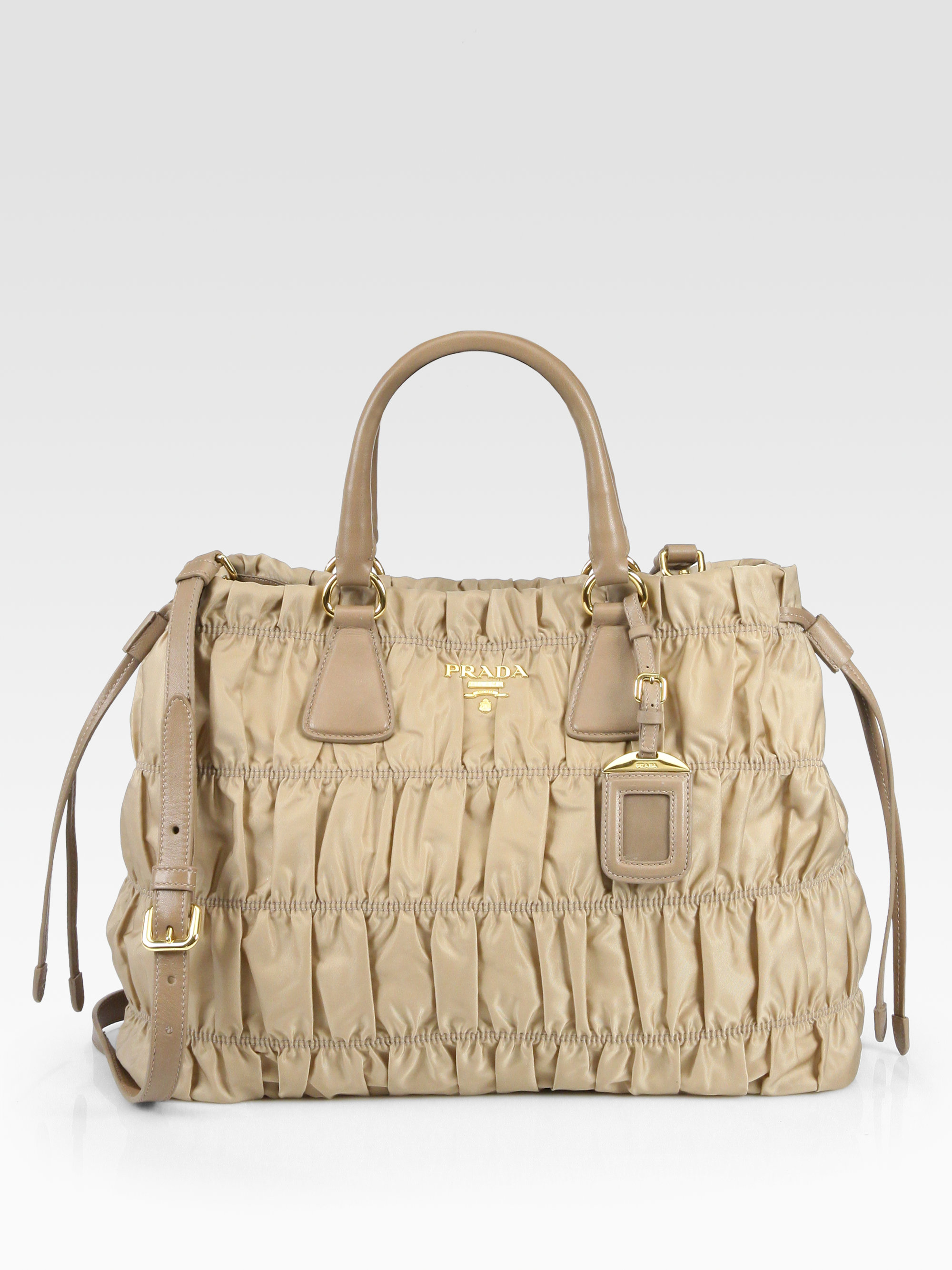 02bfe2b996de ... clearance lyst prada tessuto gaufre tote bag in natural 8a2bf 3cb75
