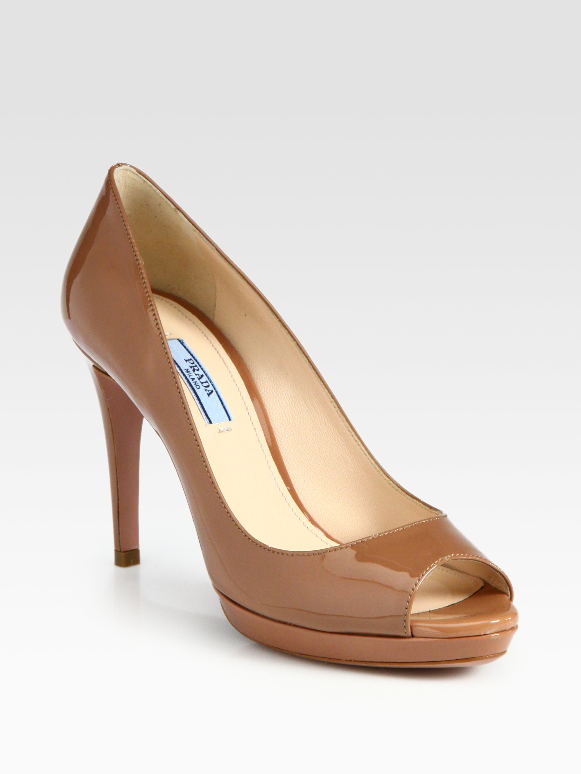 a2ae84512806 Lyst - Prada Patent Leather Peep Toe Pumps in Brown