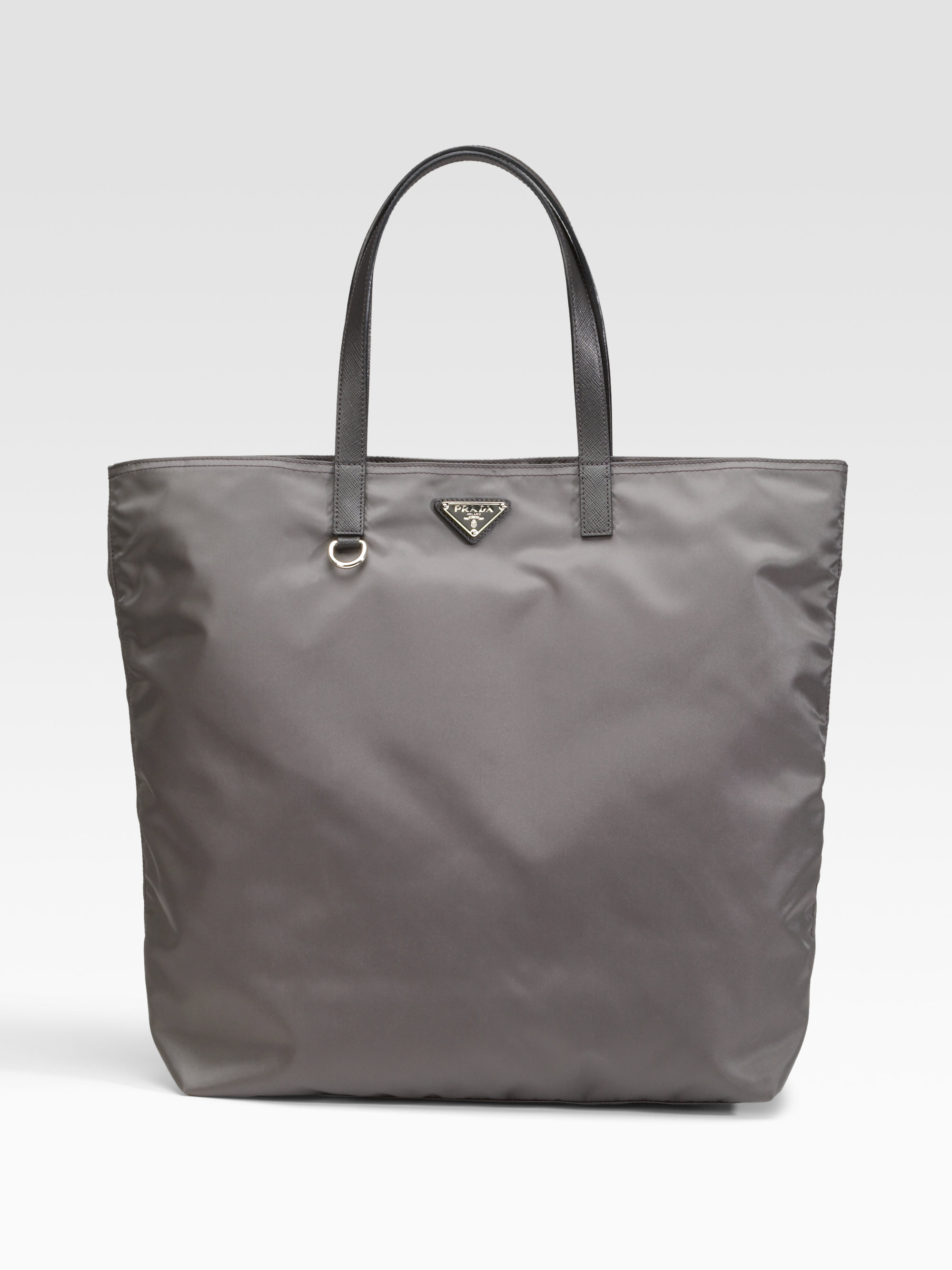 efba82f7d1 ... new style lyst prada vela nylon tote bag in gray 2e462 f40eb