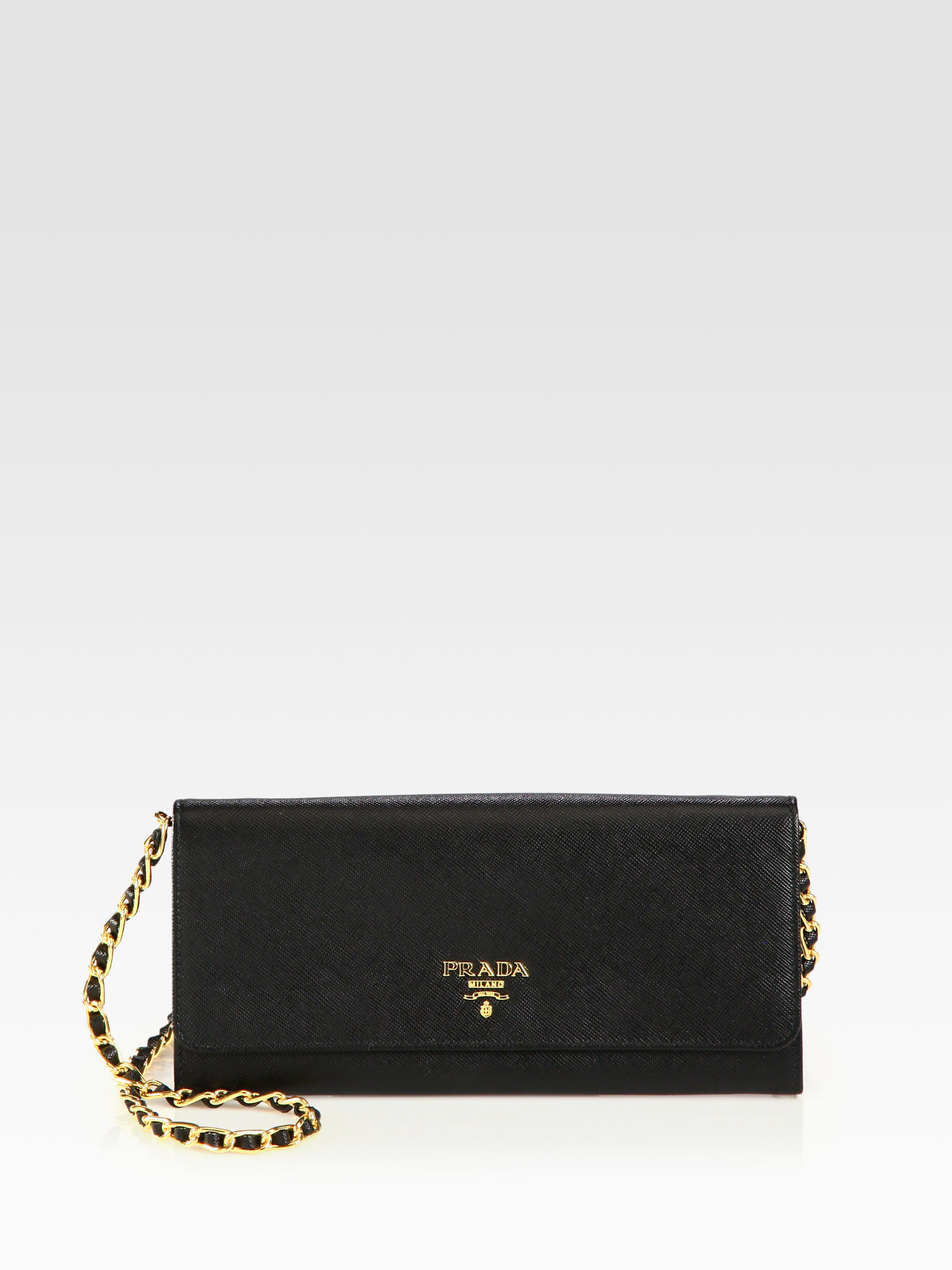 Prada Saffiano Metal Oro Chain Wallet in Black (nero-black) | Lyst