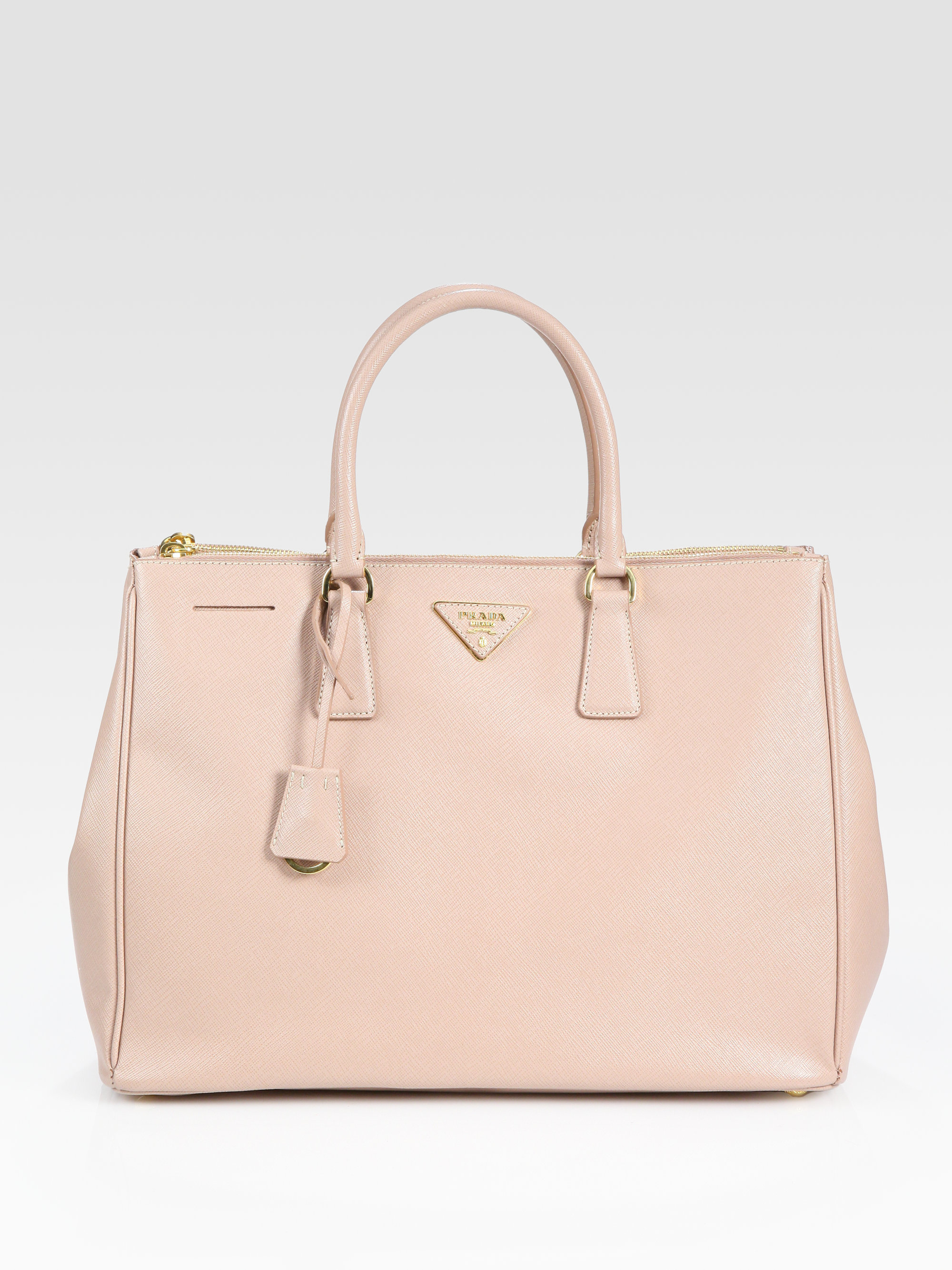 Prada Saffiano Lux Doublezip Tote in Pink | Lyst