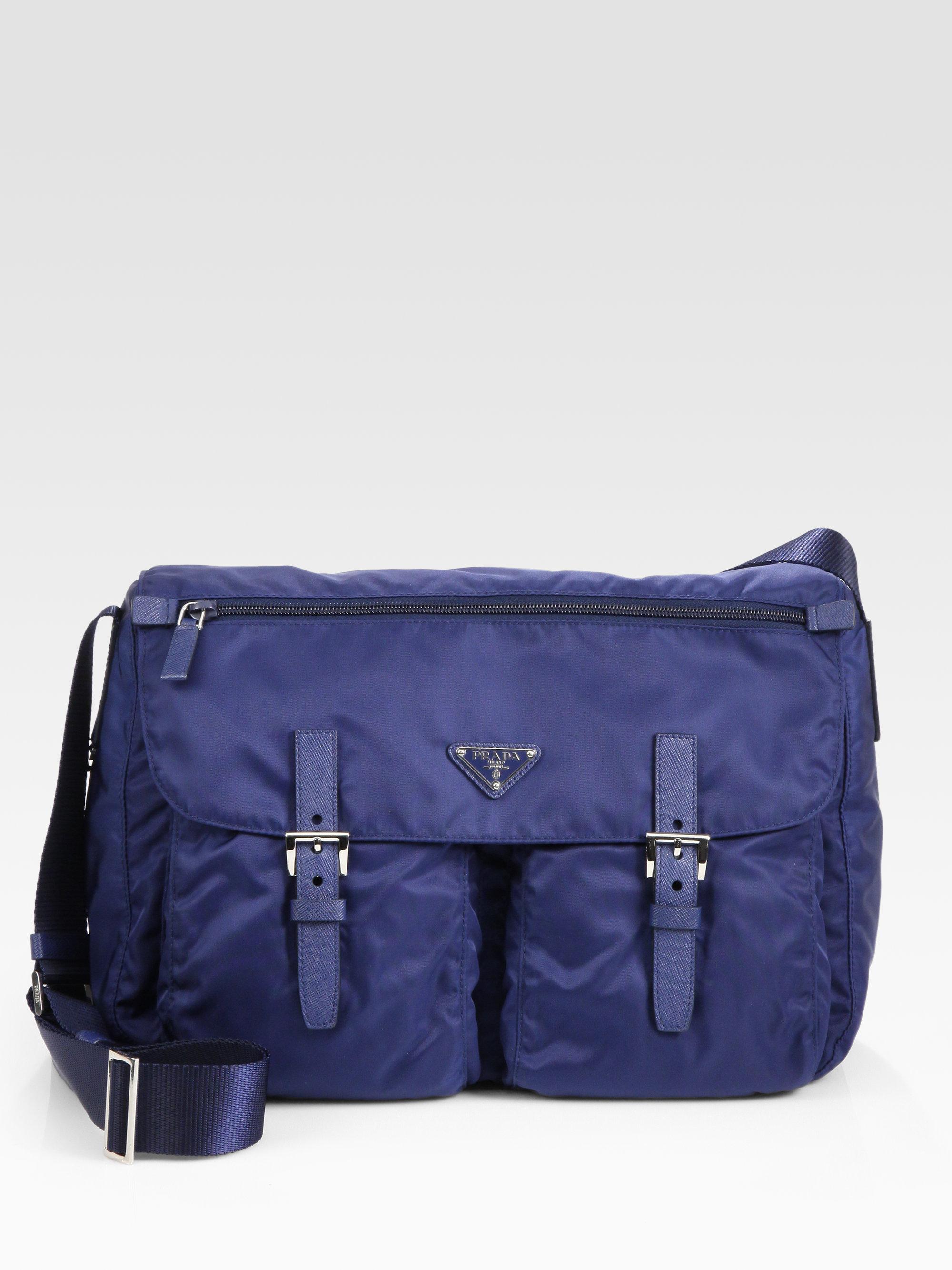 0dc8972a0ef5 ... discount lyst prada vela two pocket messenger bag in blue e035c 0bf82