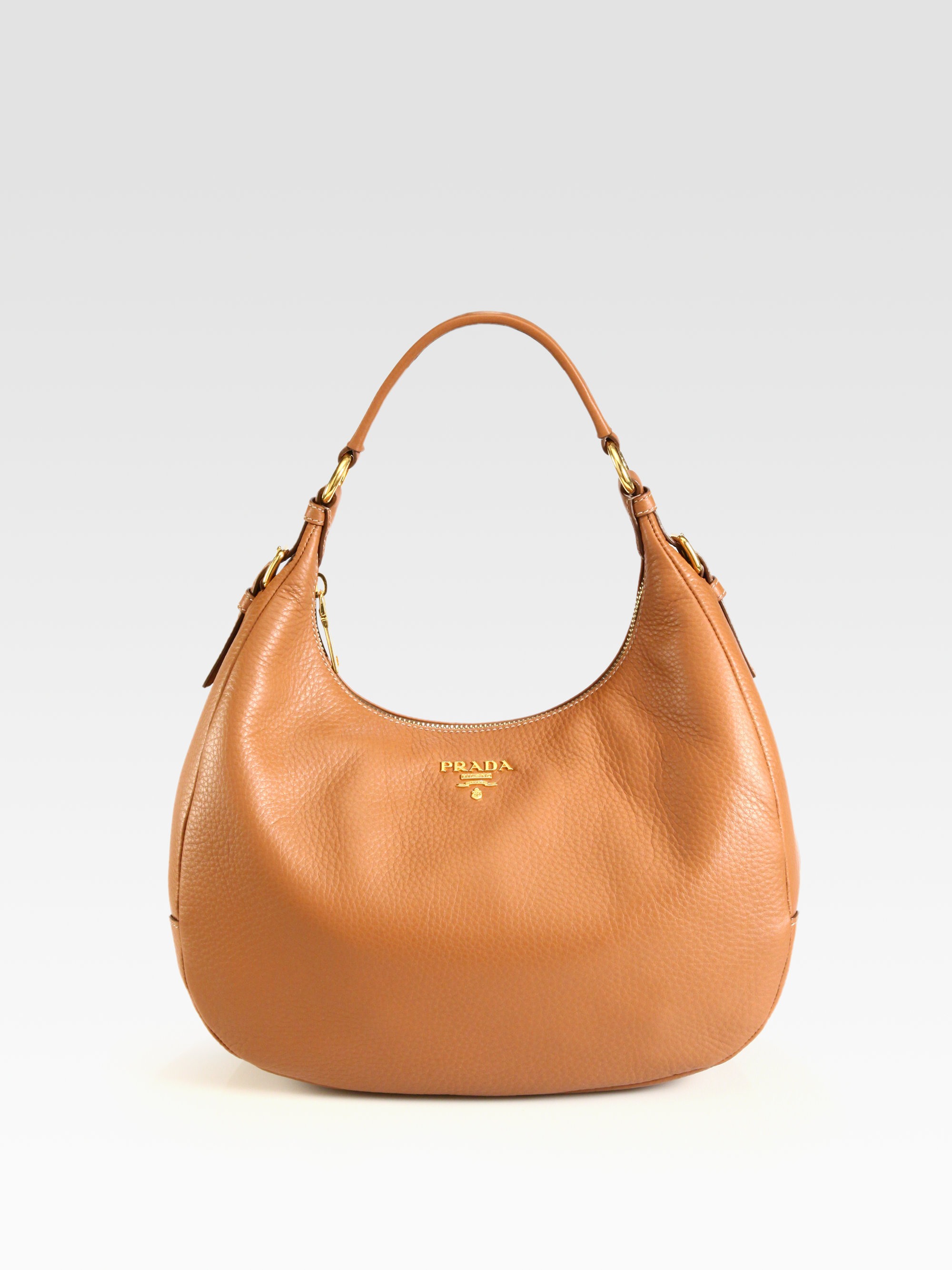 buy diagramme medium leather shoulder bag prada 77ddb af1de  coupon code  for lyst prada vitello daino small hobo in brown 36d08 90aa9 9b8c7dff22