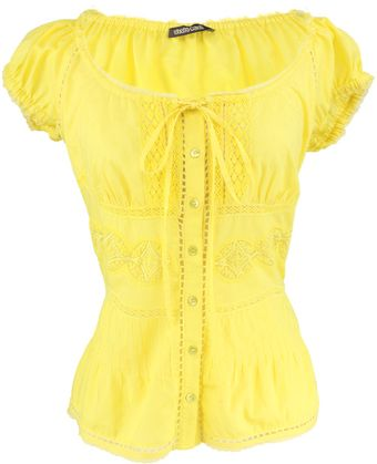 Roberto Cavalli Yellow Crochet Top - Lyst