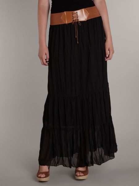 sodamix belted waist crinkle maxi skirt in black lyst