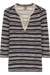 Tory Burch Evan Embellished Striped Silk Jersey Top - Lyst