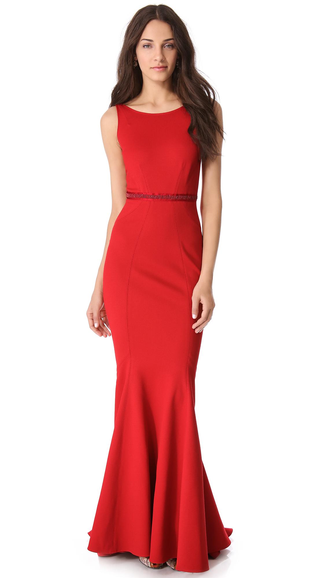 Lyst - Zac Posen Sleeveless Gown in Red