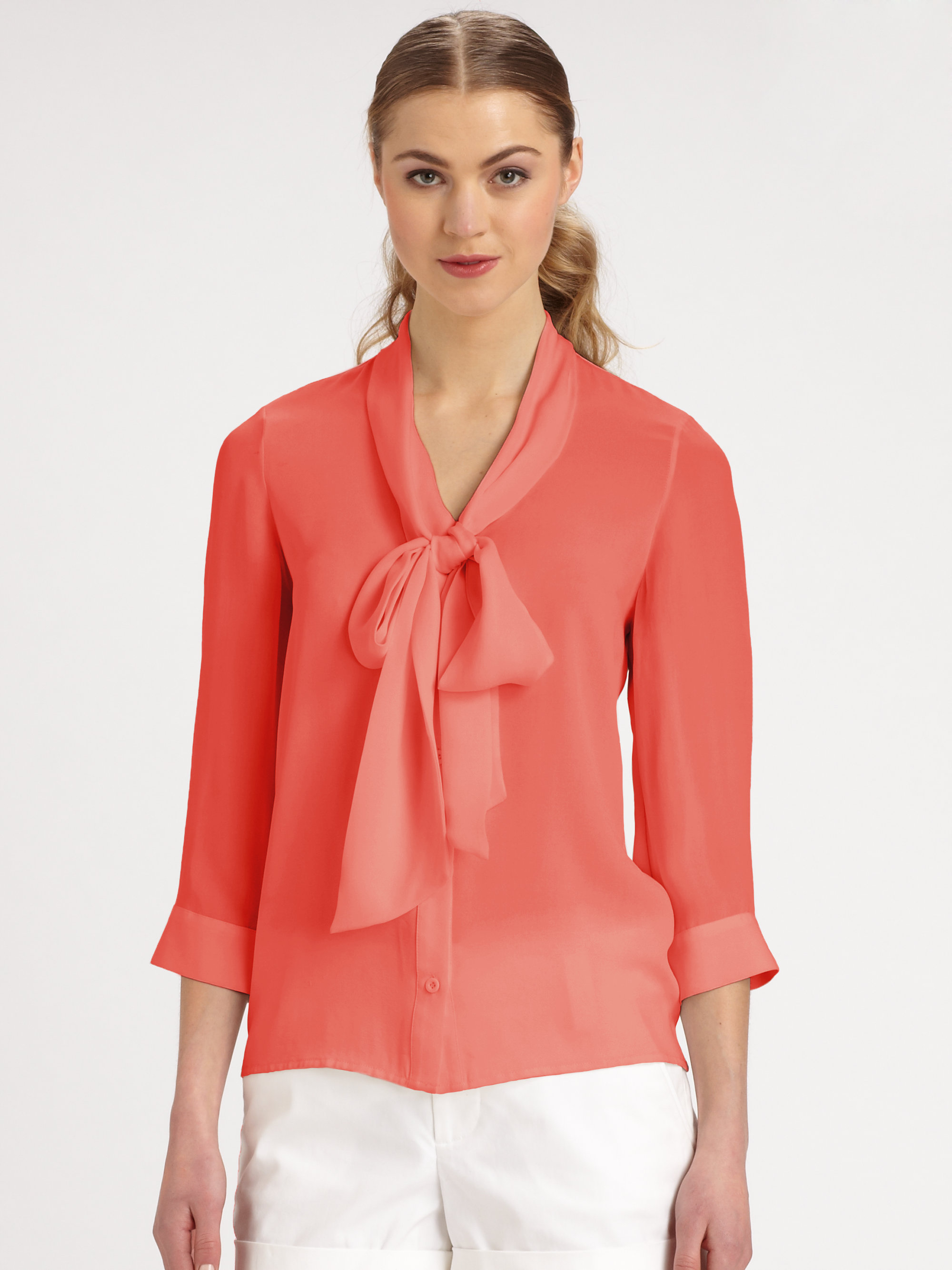 Alice Olivia Arie Stretch Silk Tieneck Blouse In Orange