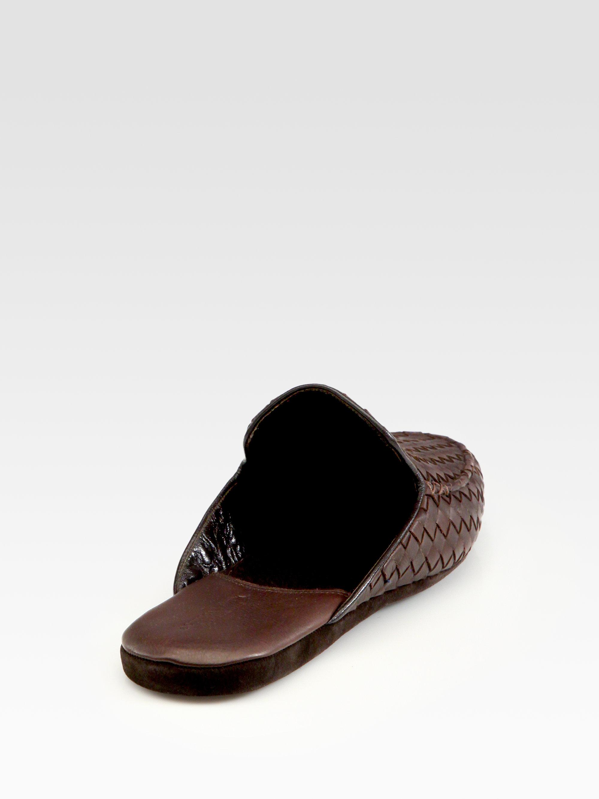Lyst Bottega Veneta Leather Slippers In Brown For Men