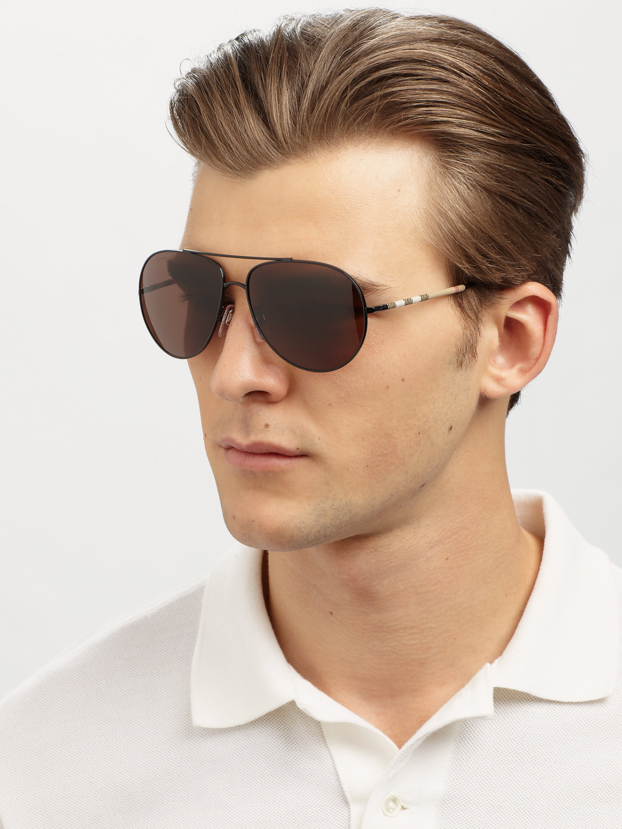 5160e96fffc6 Lyst - Burberry Metal Aviator Sunglasses in Black for Men
