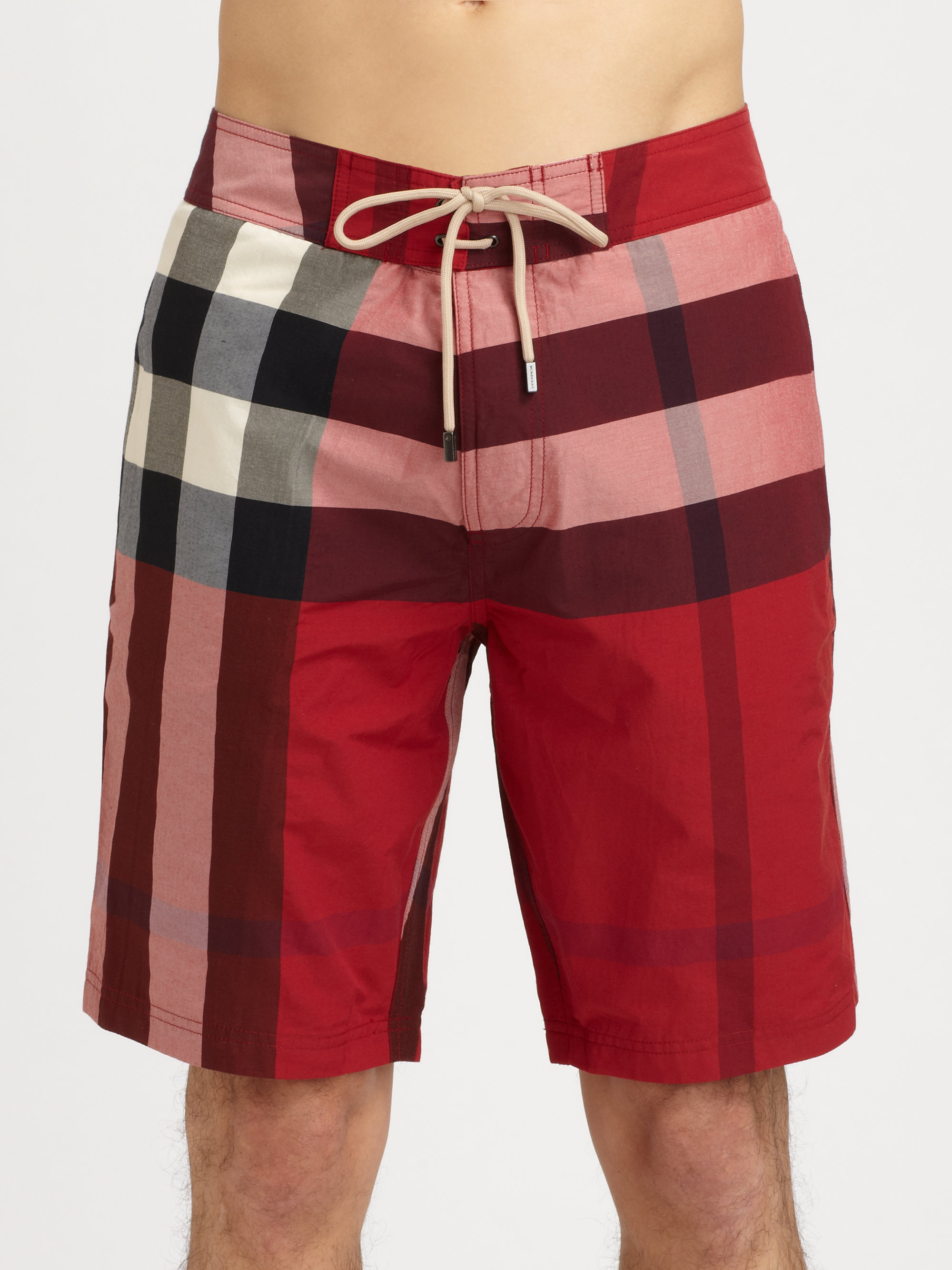 Burberry brit Laguna Check Swim Trunks in Red for Men | Lyst