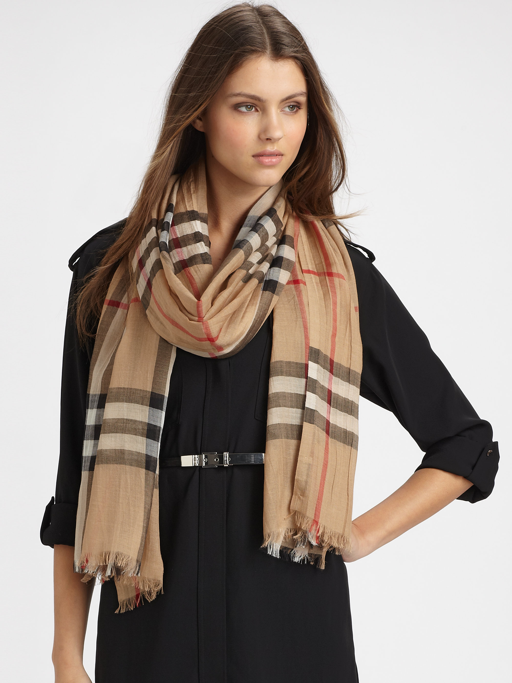 burberry check gauze scarf in lyst