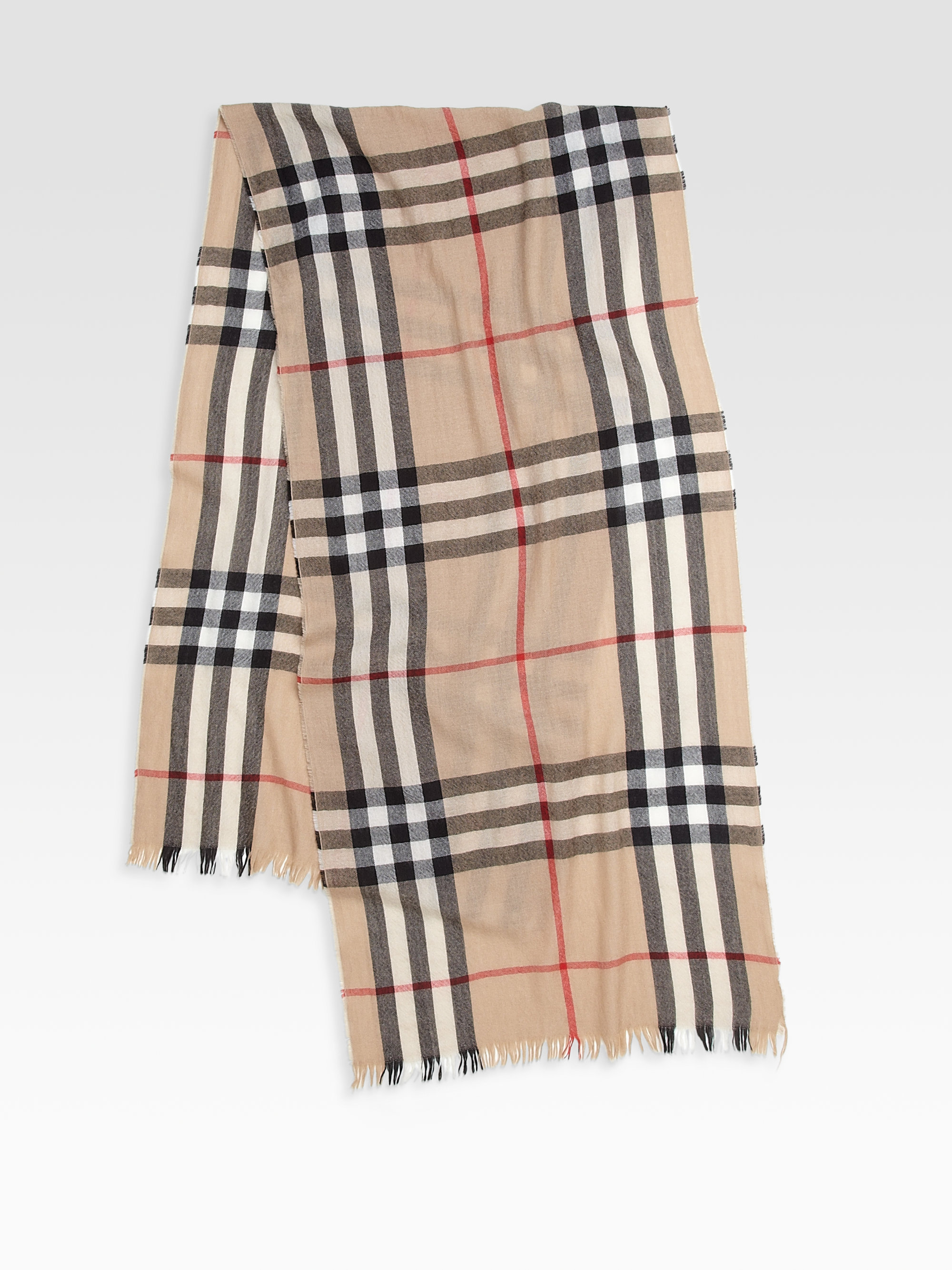 Lyst Burberry Checked Scarf In Natural