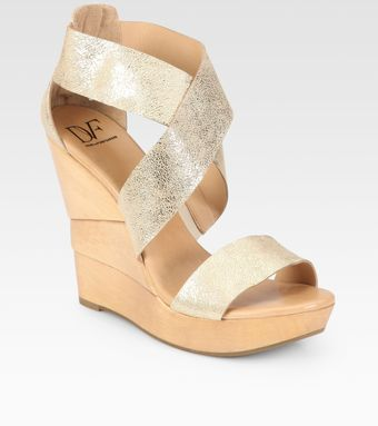 Diane Von Furstenberg Opal Metallic Leather Sculpted Wedge Sandals - Lyst