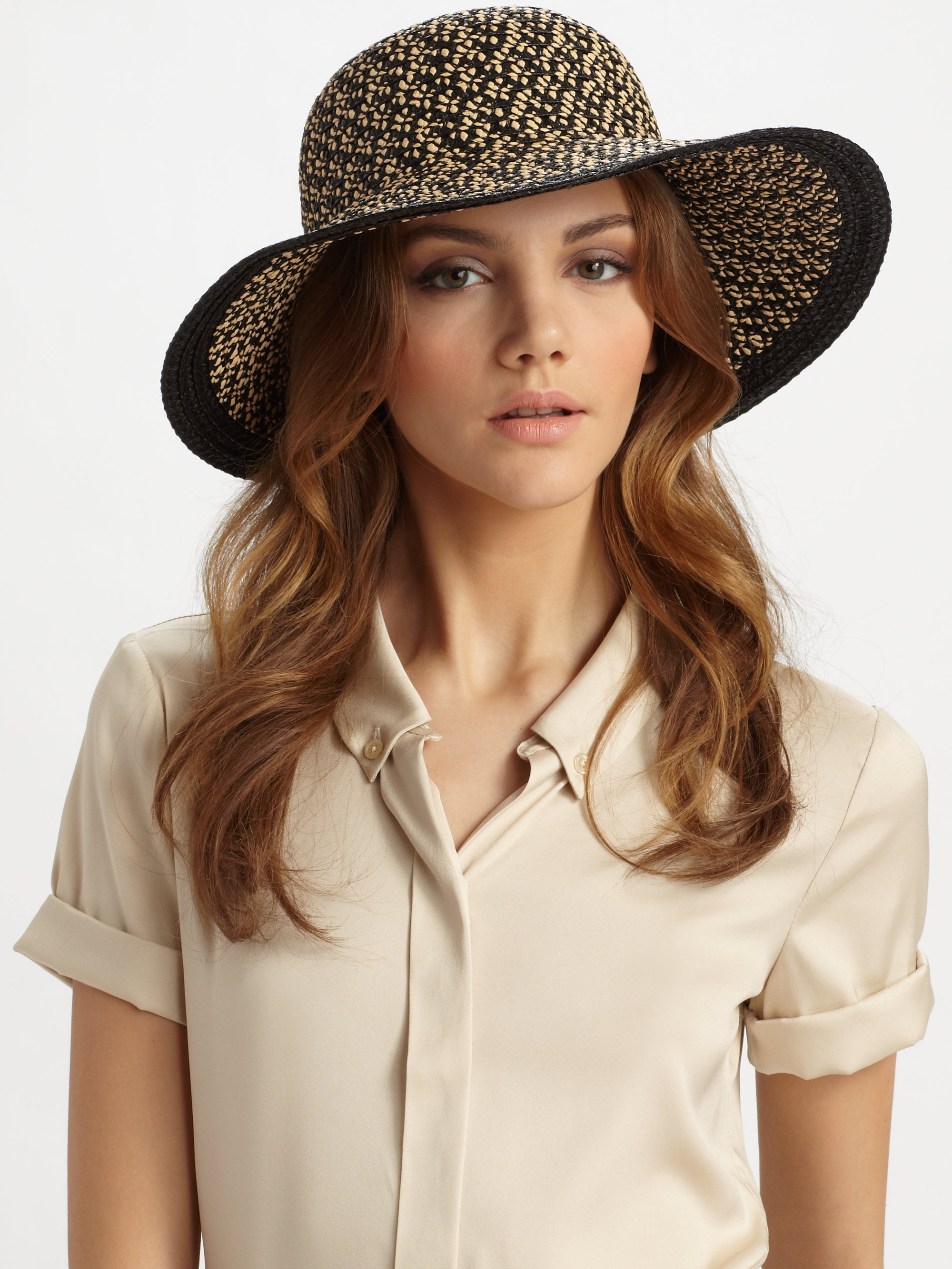 fa830ae6247 Lyst - Eric Javits Down Brim Floppy Hat in Black