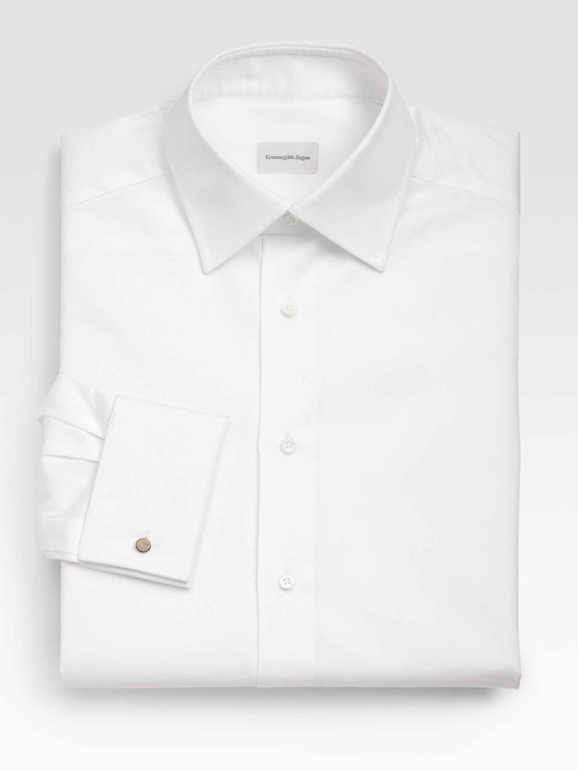 Ermenegildo zegna french cuff dress shirt in white for men for Mens dress shirts french cuffs