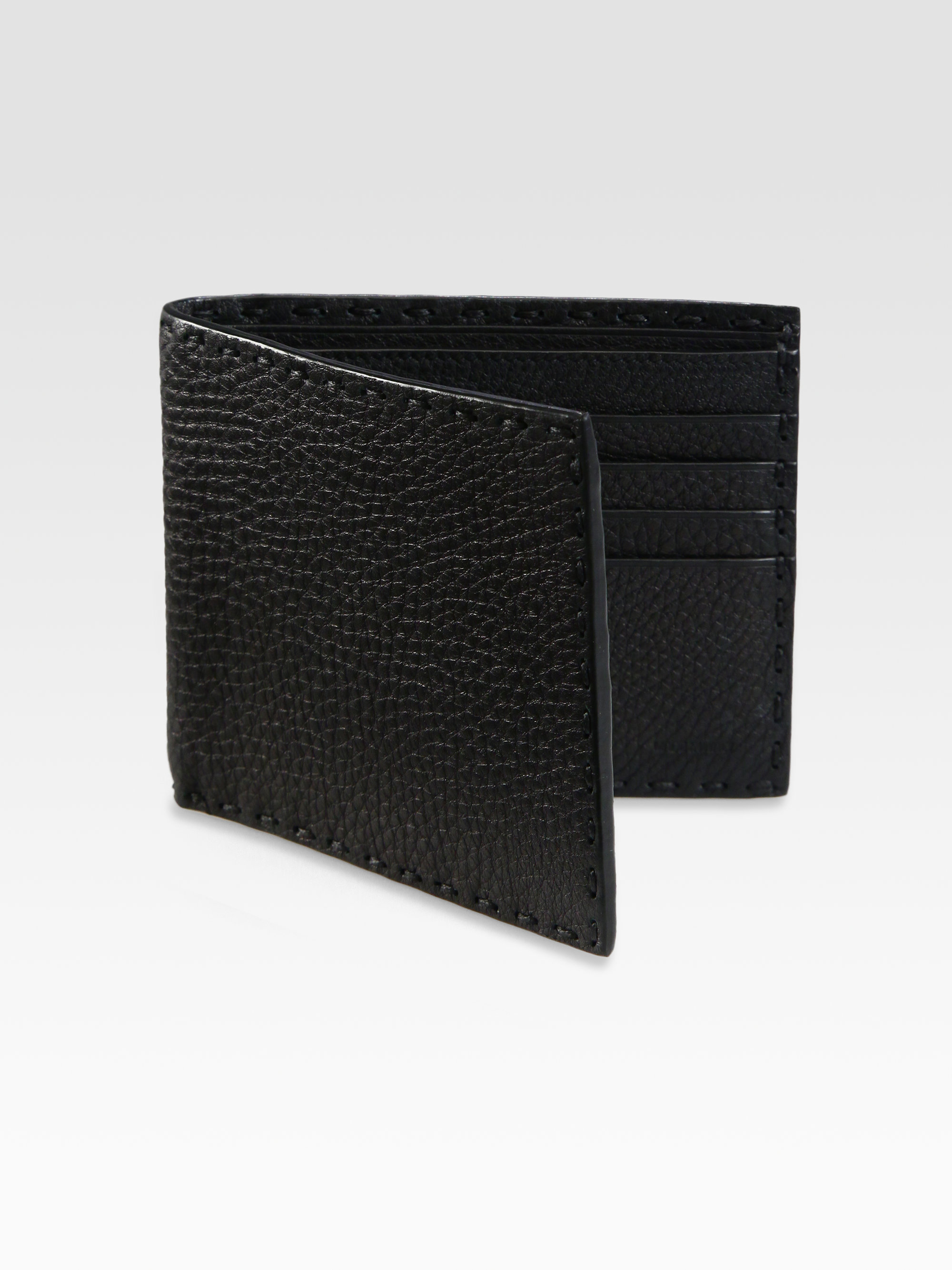 Lyst Fendi Selleria Basic Leather Wallet In Black For Men