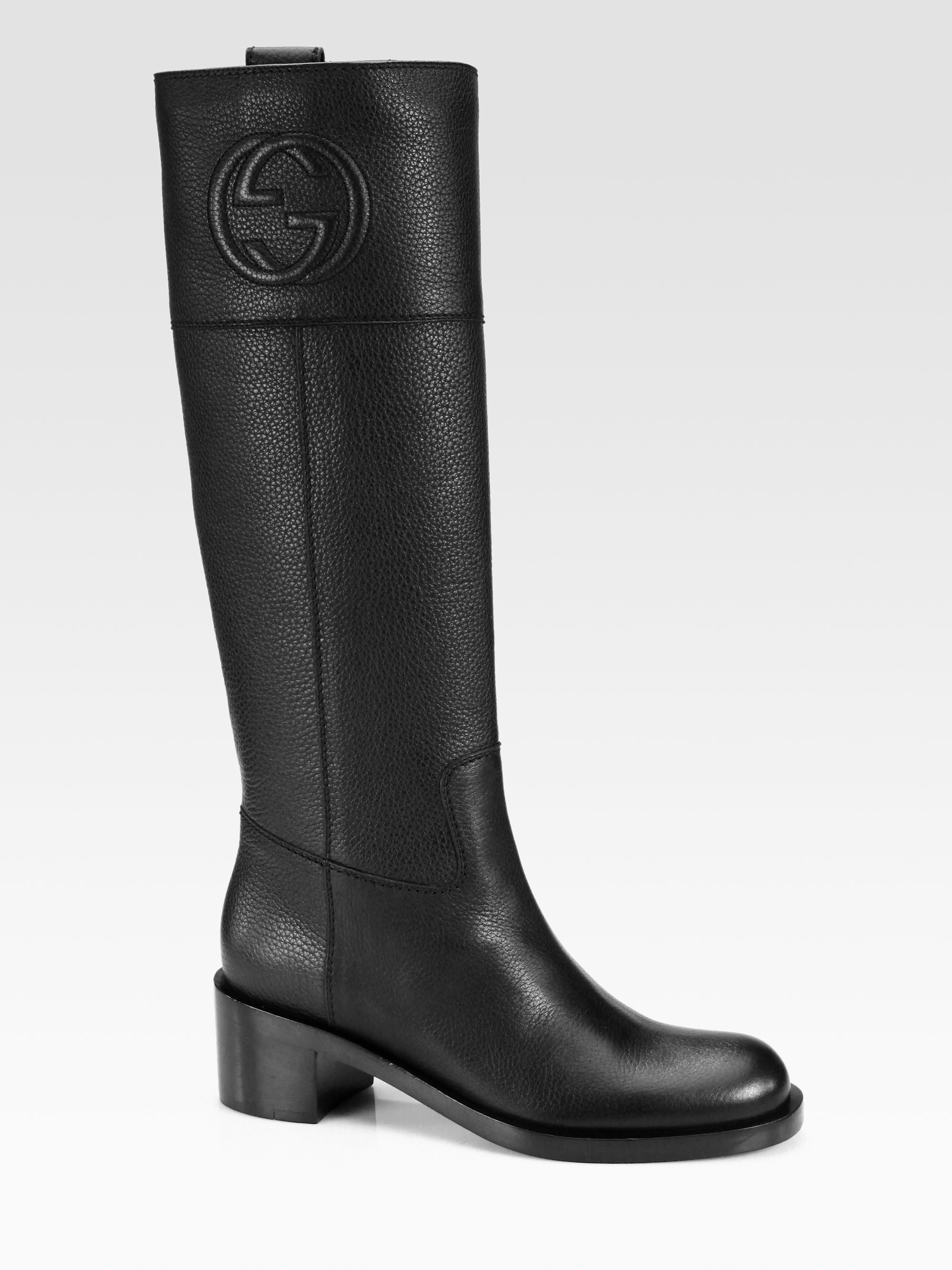 gucci soho leather boots in black lyst