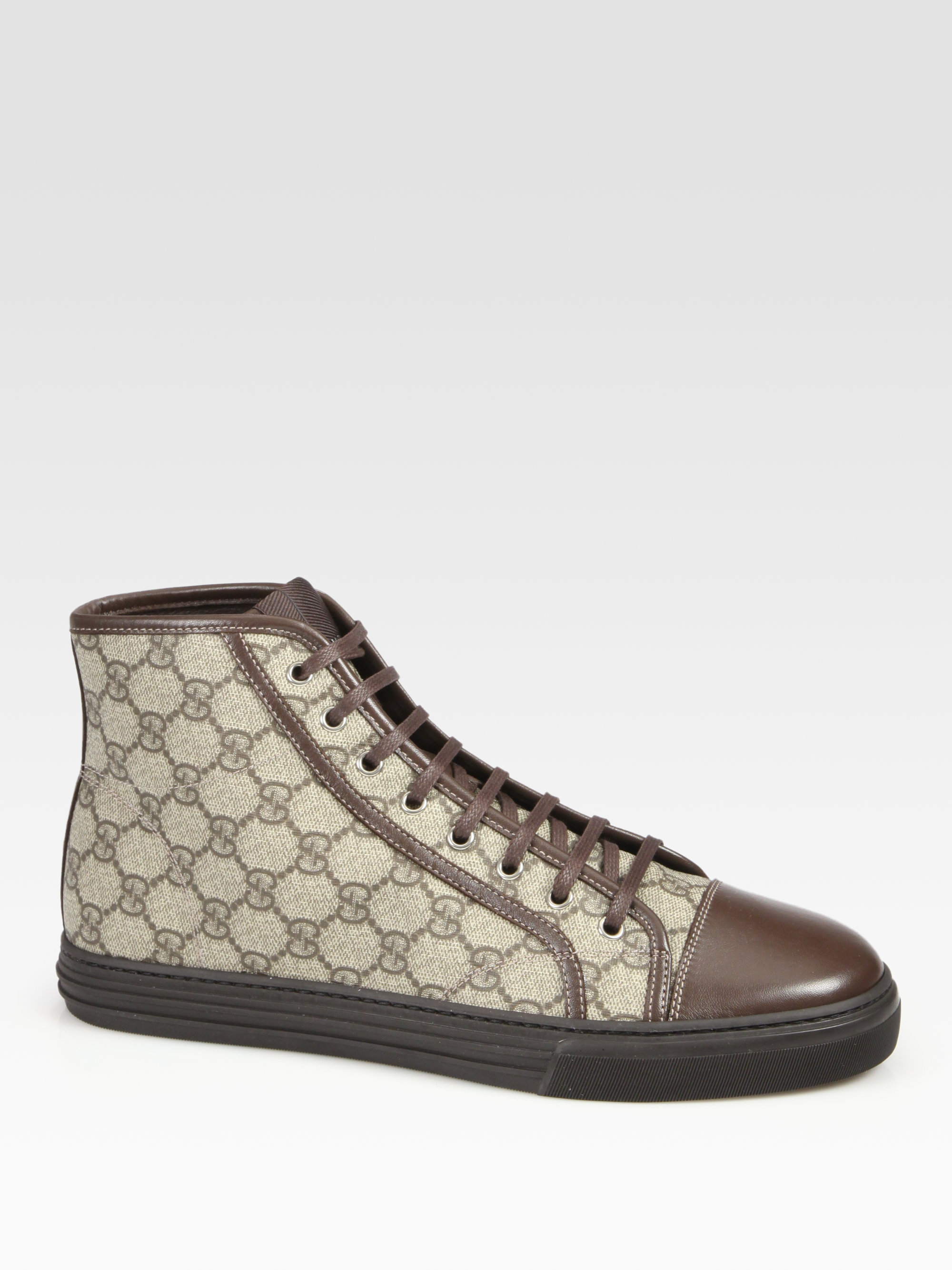 65d469fbf0b5 Lyst - Gucci California High-Top Lace-Up Sneakers in Brown for Men