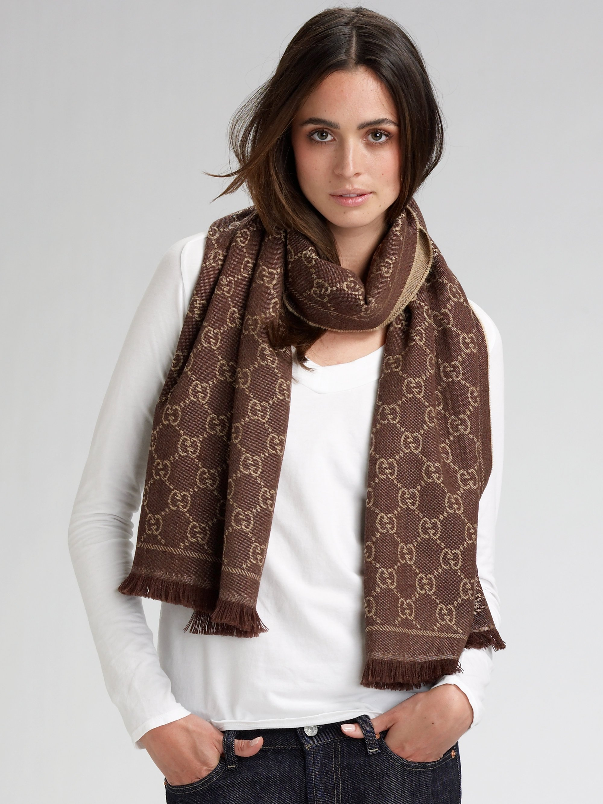 Gucci Gg Pattern Scarf In Brown Lyst