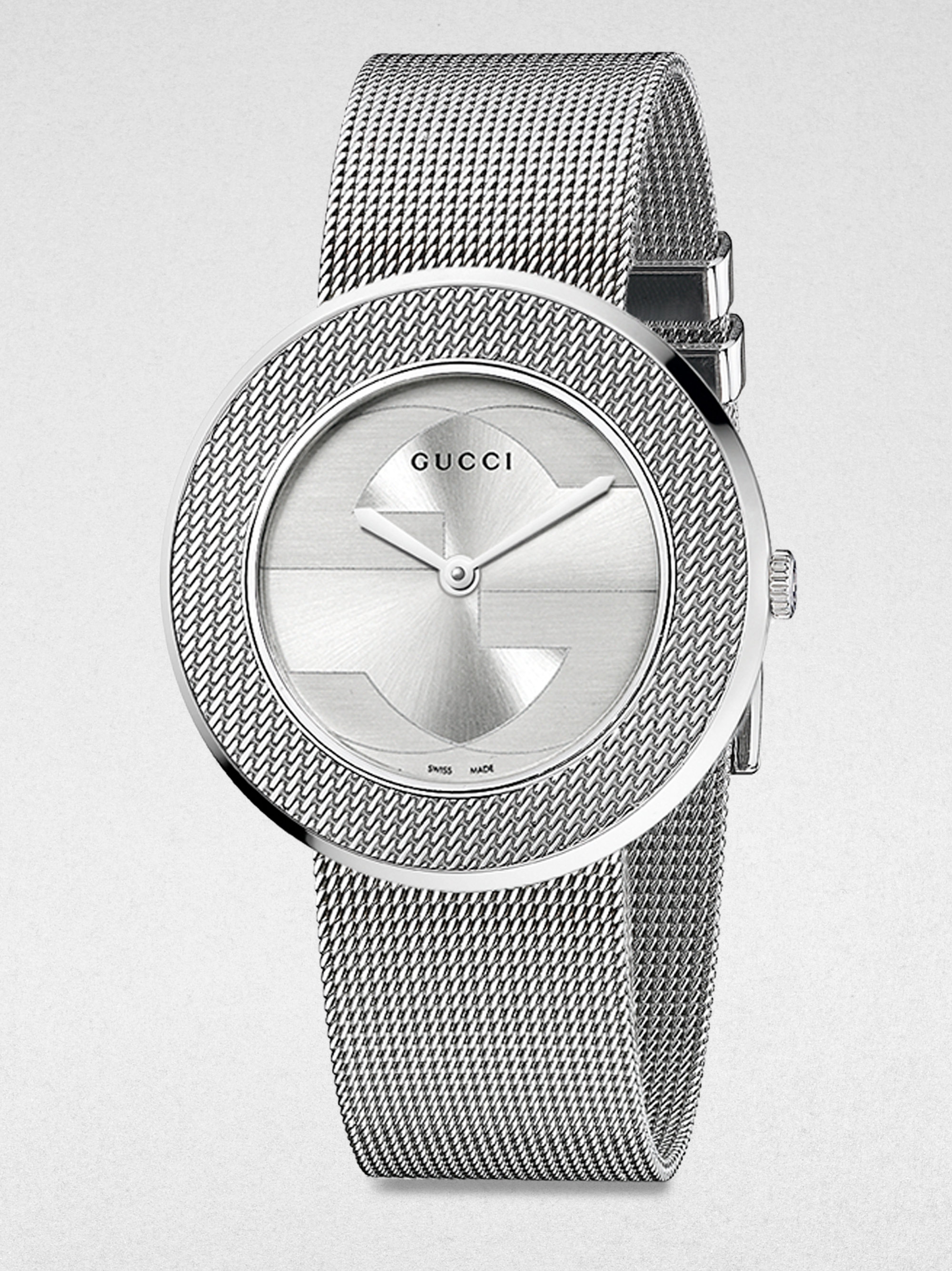 db133d7e7fe Gucci Uplay Round Stainless Steel Mesh Bracelet Watch in Metallic - Lyst