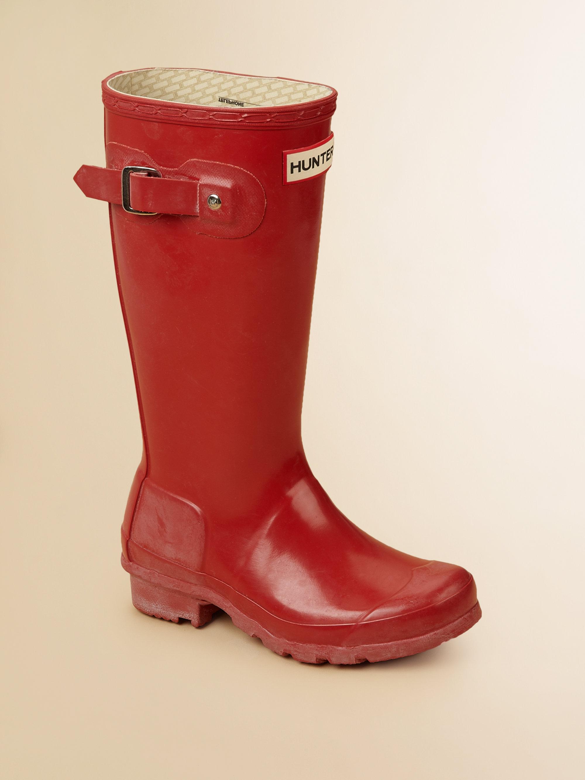 Hunter Kids High Gloss Original Tall Rain Boots In Red Lyst