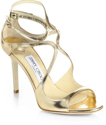 Jimmy Choo Ivette Metallic Leather Sandals - Lyst