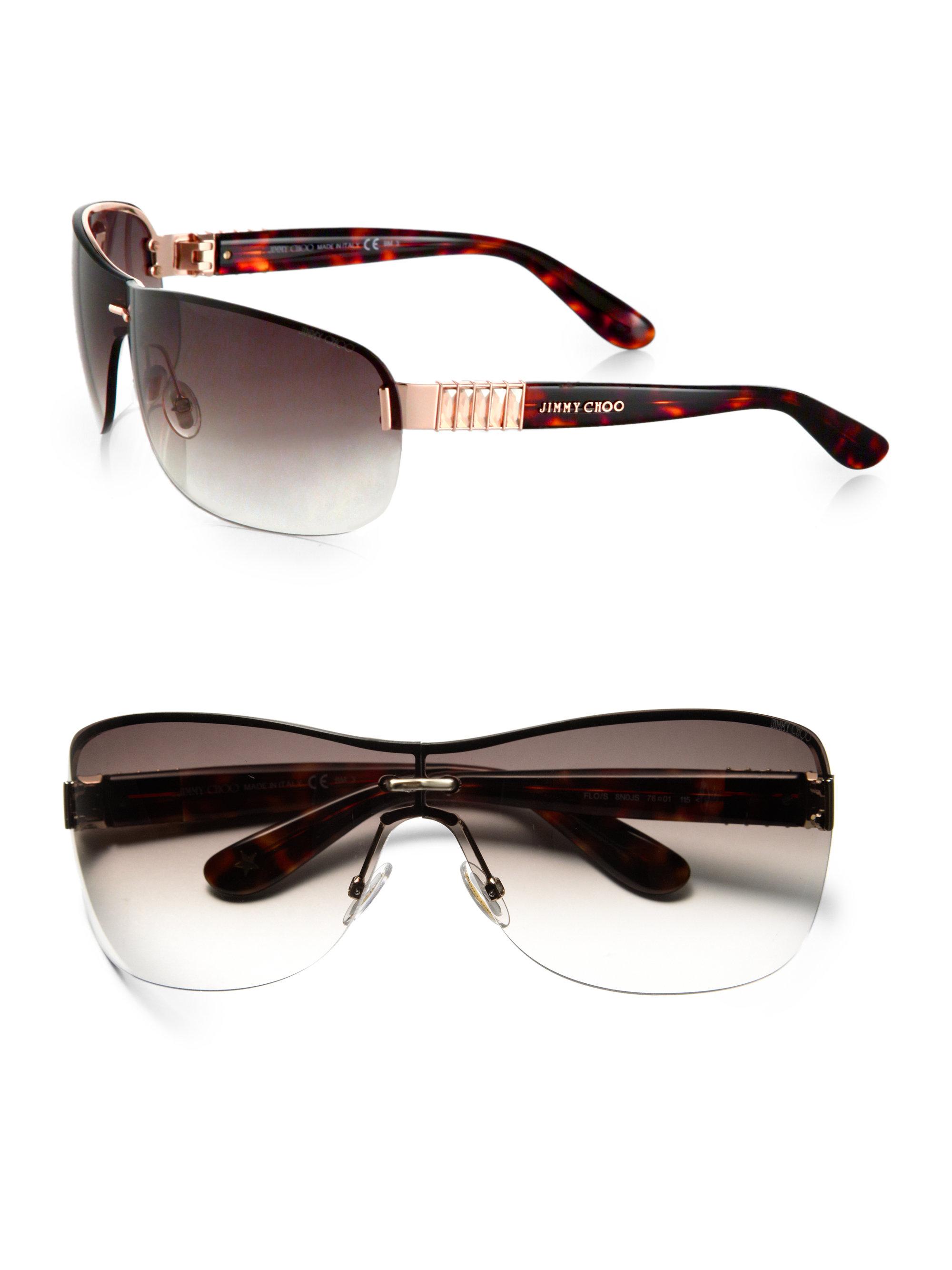 7b1602fad0 Lyst - Jimmy Choo Rimless Wrap Rectangular Shield Sunglasses in Brown