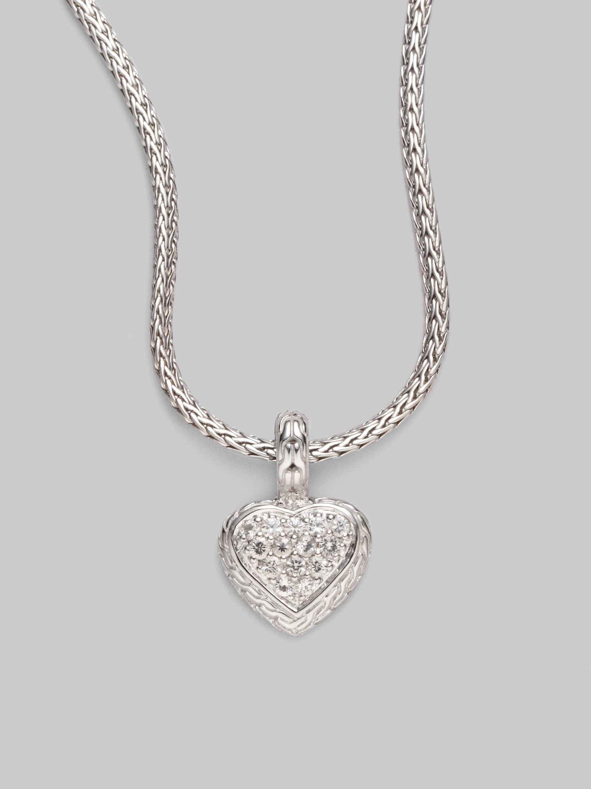 John Hardy Classic Chain White Sapphire Heart Pendant Necklace 6qFc8K11A