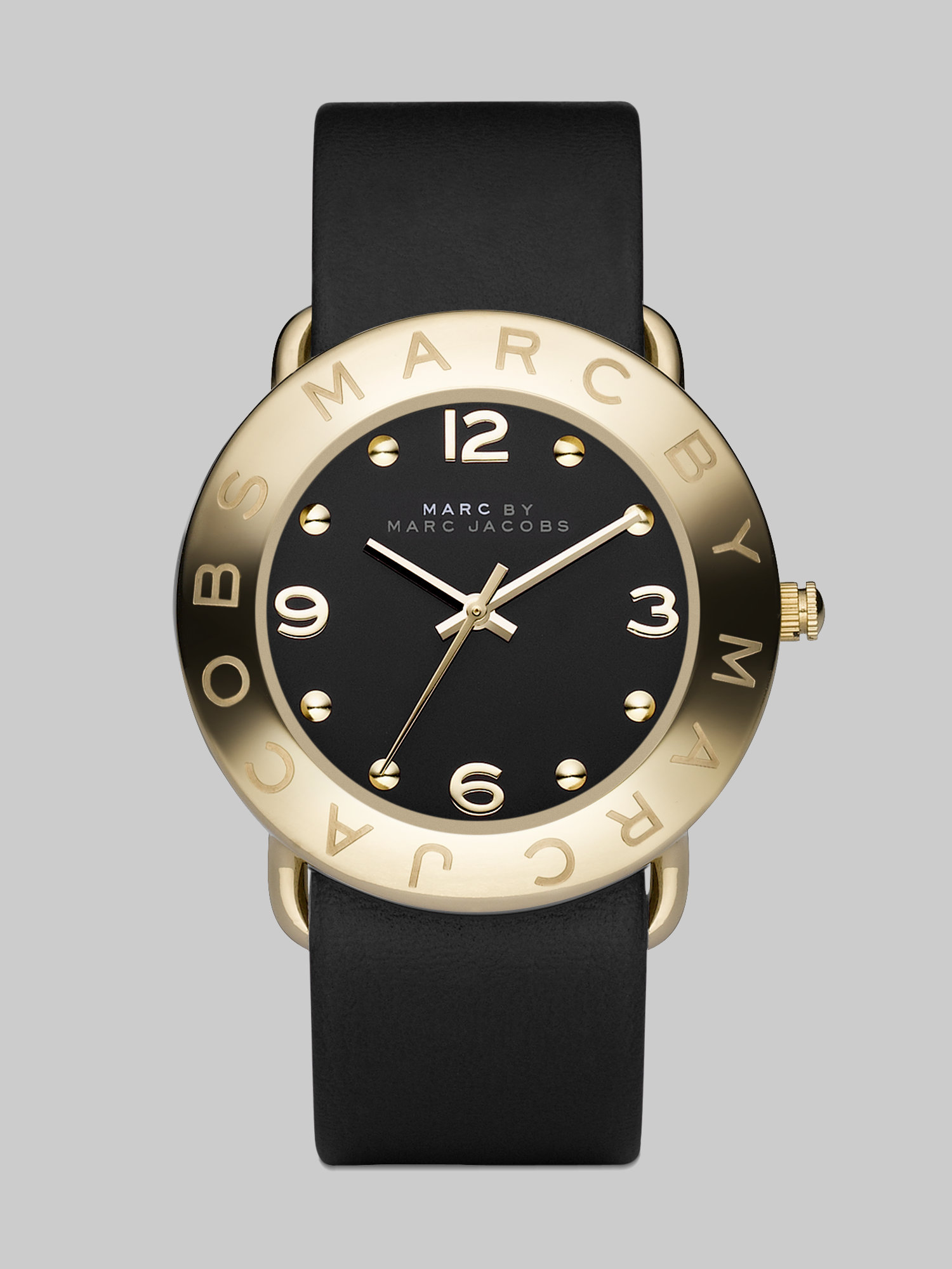 Lyst marc by marc jacobs amy goldtone stainless steel leather strap watch in black for Leather strap watches