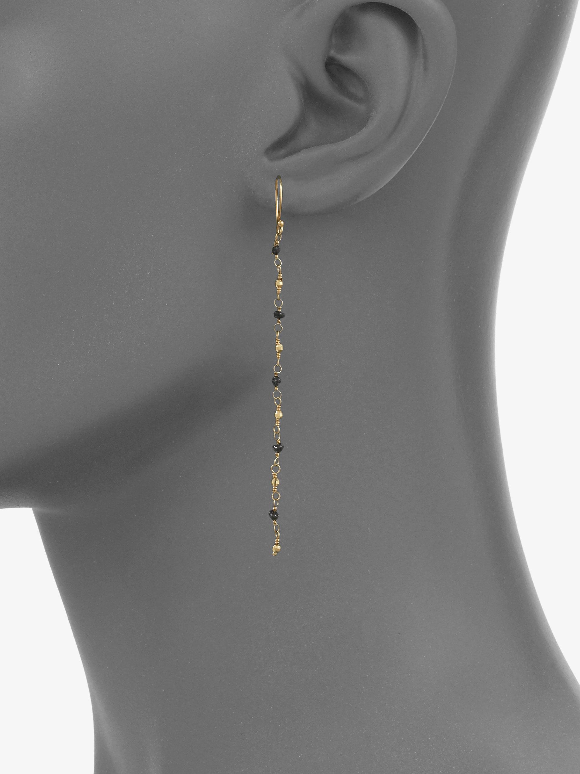 Mizuki Rough Black Diamond 14k Gold Chain Earring in Metallic