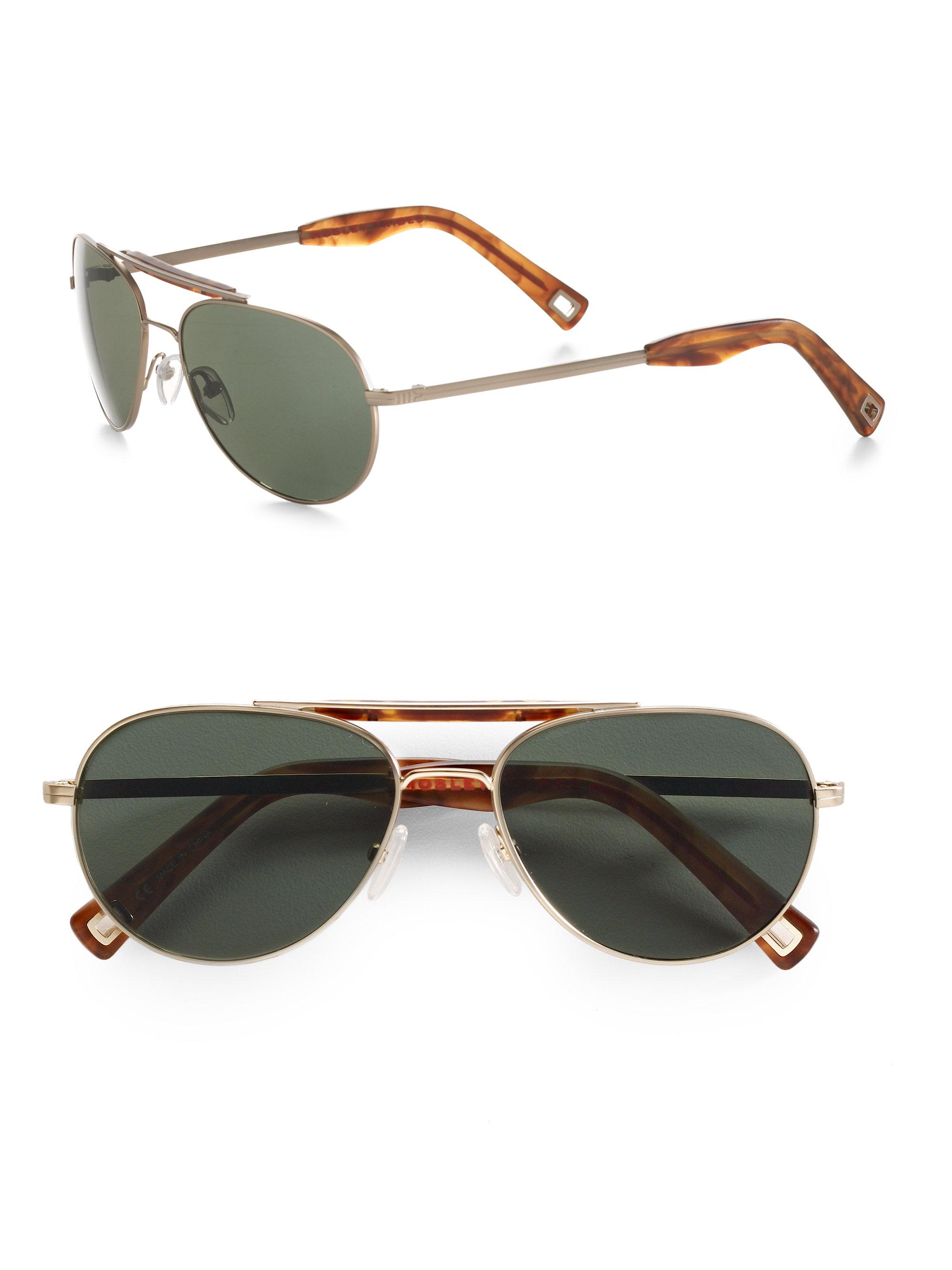 3e3aa0c3099e7 Lyst - Mosley Tribes Crane Aviator Sunglasses in Brown