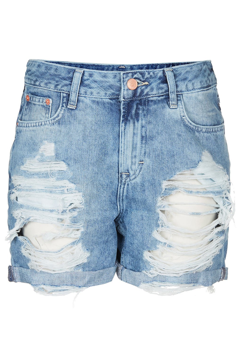 Topshop Ripped Denim Boy Shorts in Blue | Lyst
