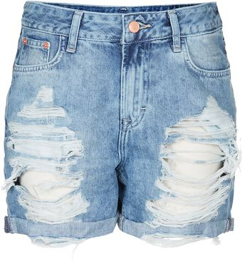 Moto Ripped Denim Boy Shorts - Lyst