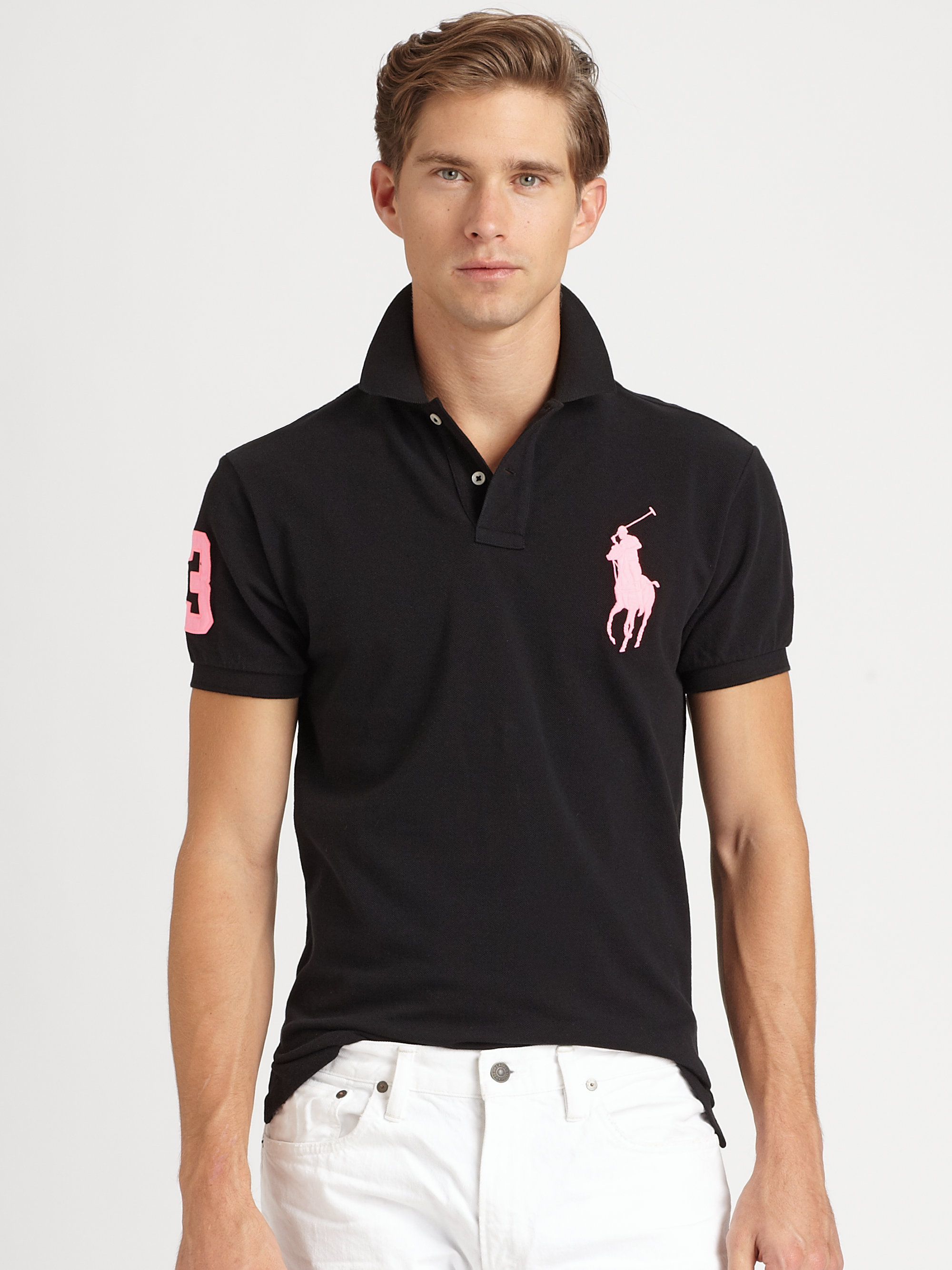 Polo Ralph Lauren. Black Custom Fit Short Sleeved Big Pony Mesh Polo
